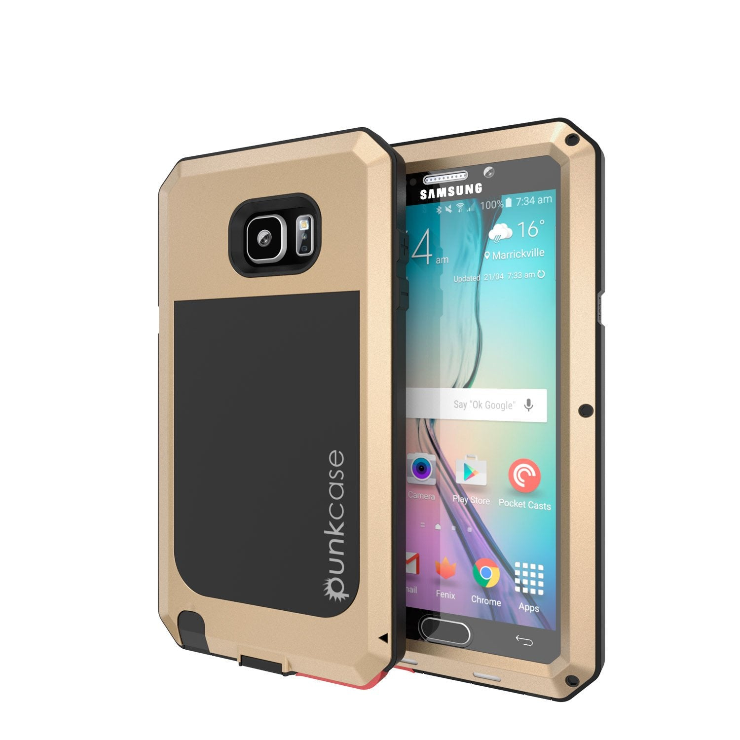 Note 5 Case, Punkcase® METALLIC Series GOLD w/ TEMPERED GLASS | Aluminum Frame