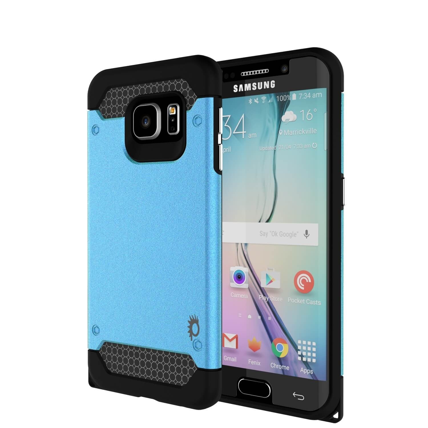 Galaxy s6 EDGE Plus Case PunkCase Galactic Teal Series Slim Armor Soft Cover w/ Screen Protector