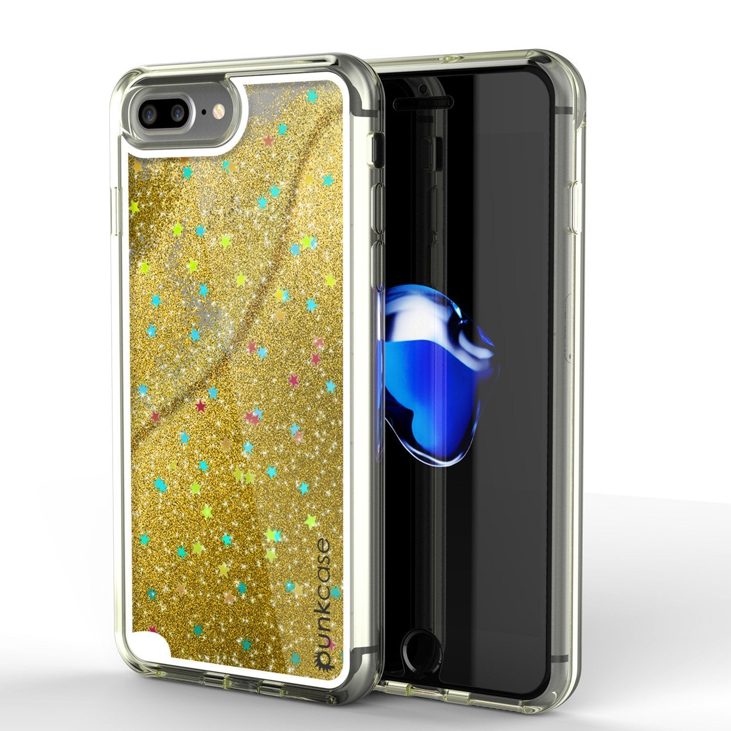 iPhone 8+ Plus Case, PunkСase LIQUID Gold Series, Protective Dual Layer Floating Glitter Cover