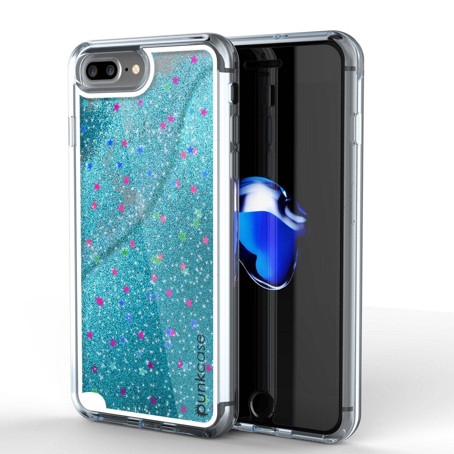 iPhone 7 Plus Case, PunkCase LIQUID Teal Series, Protective Dual Layer Floating Glitter Cover