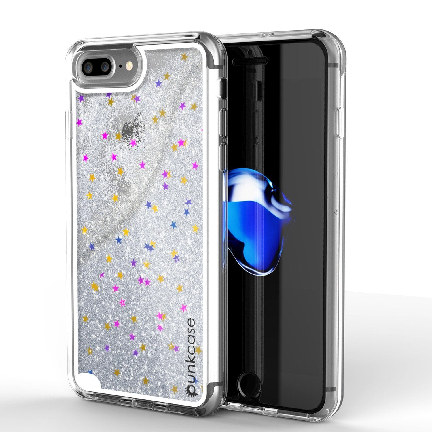 iPhone 8+ Plus Case, PunkCase LIQUID Silver Series, Protective Dual Layer Floating Glitter Cover
