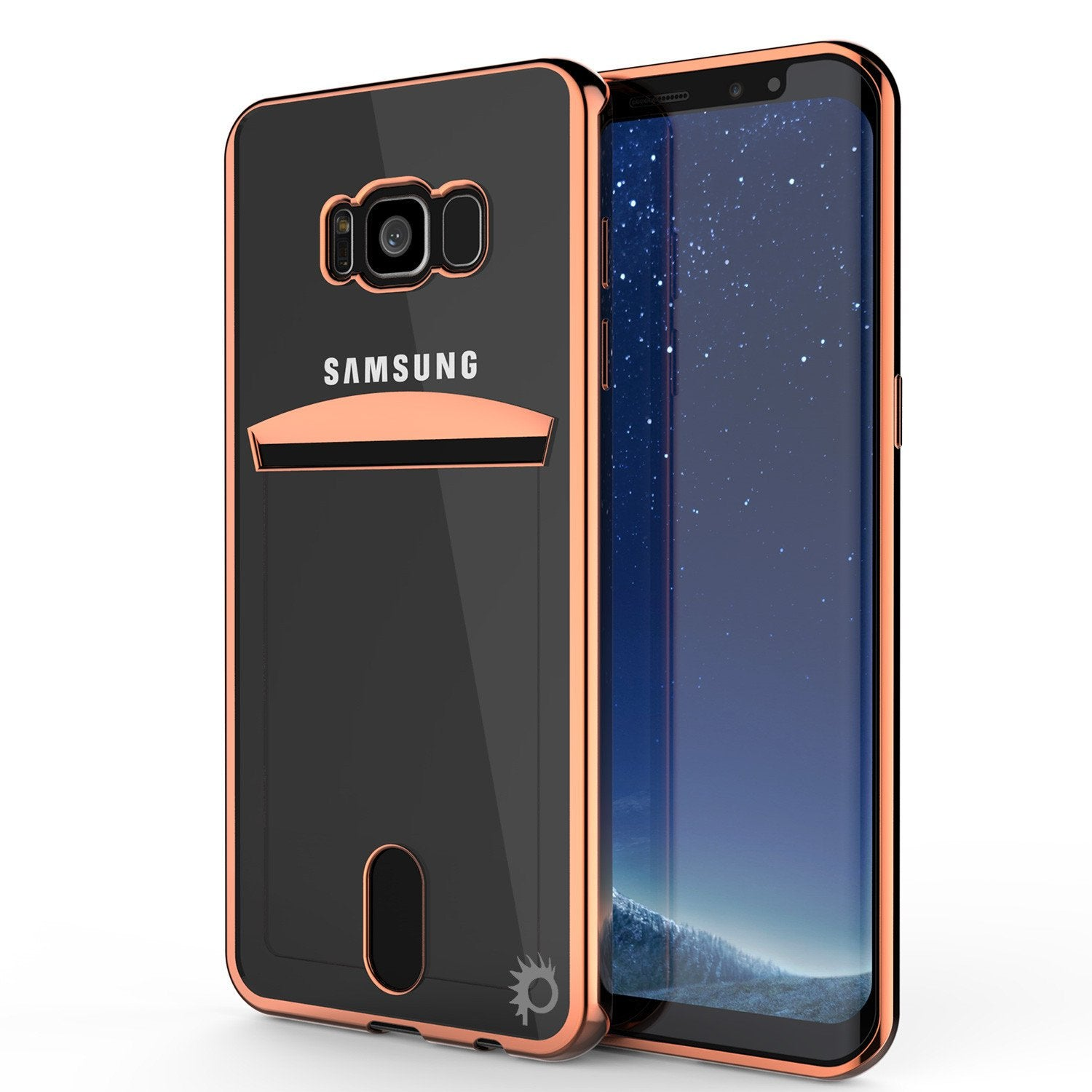 Galaxy S8 Plus Ultra Screen Protector W/ Card Slot Case [Rose Gold]