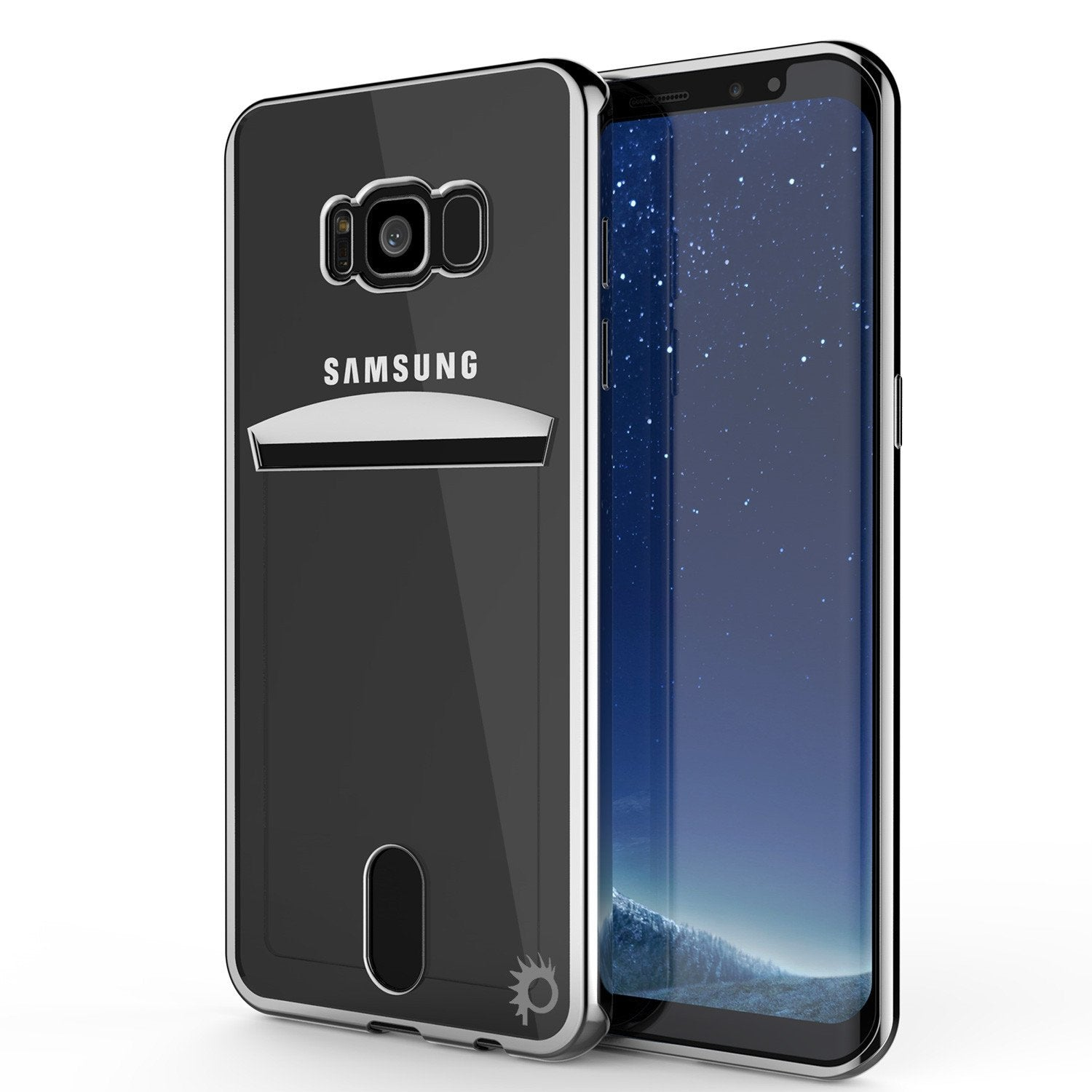 Galaxy S8  Ultra Screen Protector W/ Card Slot Case [Silver Series]
