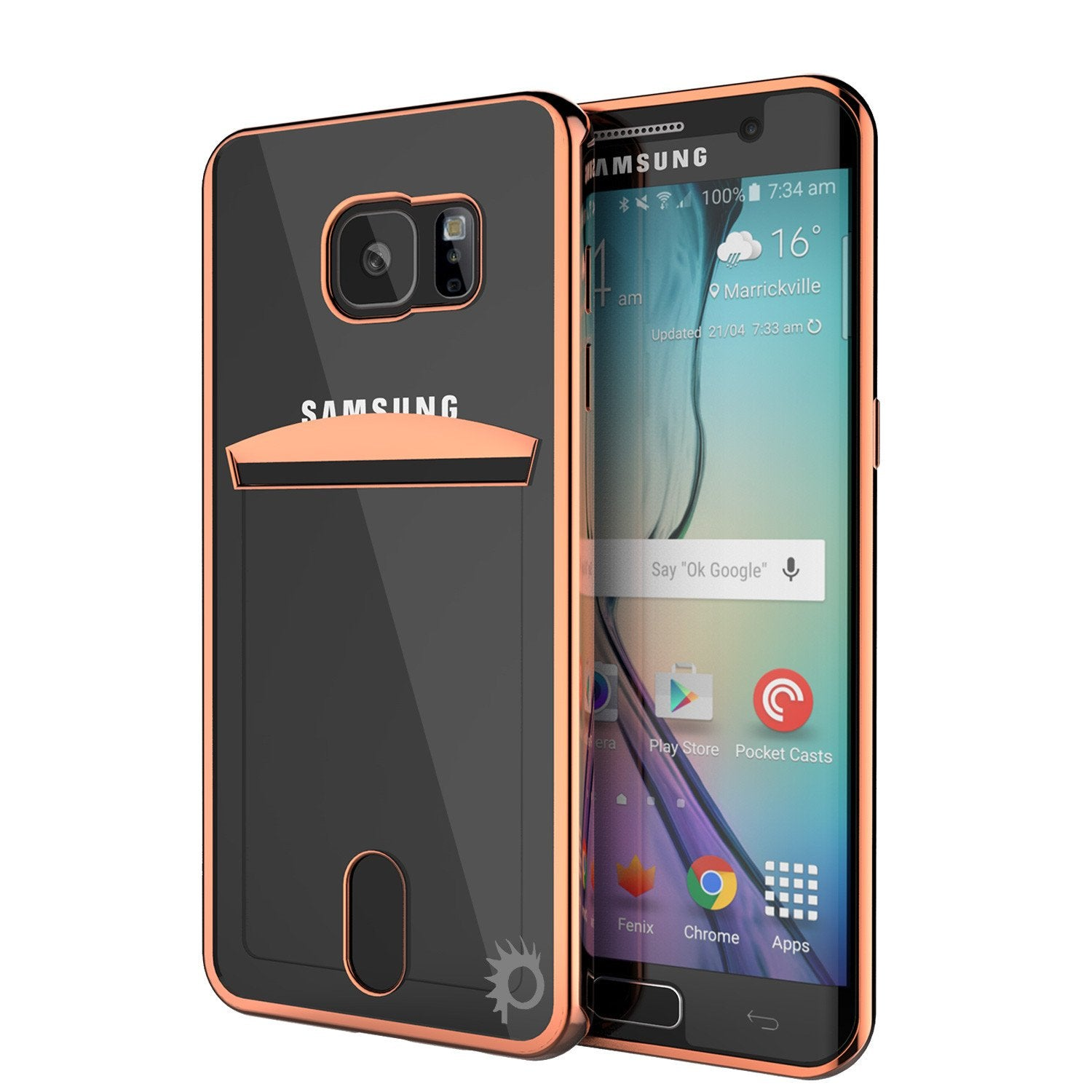 Galaxy S6 EDGE Case, PUNKCASE® LUCID Rose Gold Series | Card Slot | SHIELD Screen Protector