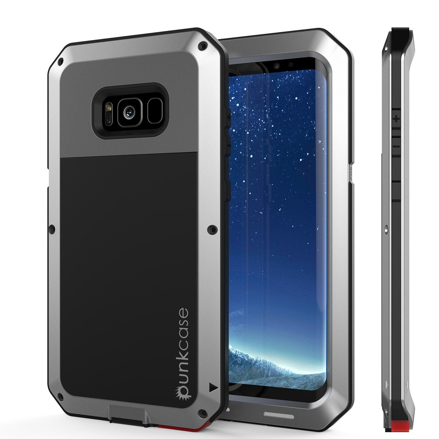 Galaxy Note 8  Case, Punkcase METALLIC Silver Shockproof Slim Metal Cover Armor Case