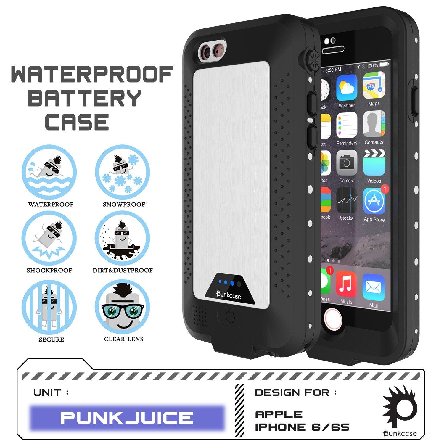 PunkJuice iPhone 6+ Plus/6s+ Plus Battery Case White - Waterproof Power Juice Bank w/ 4300mAh