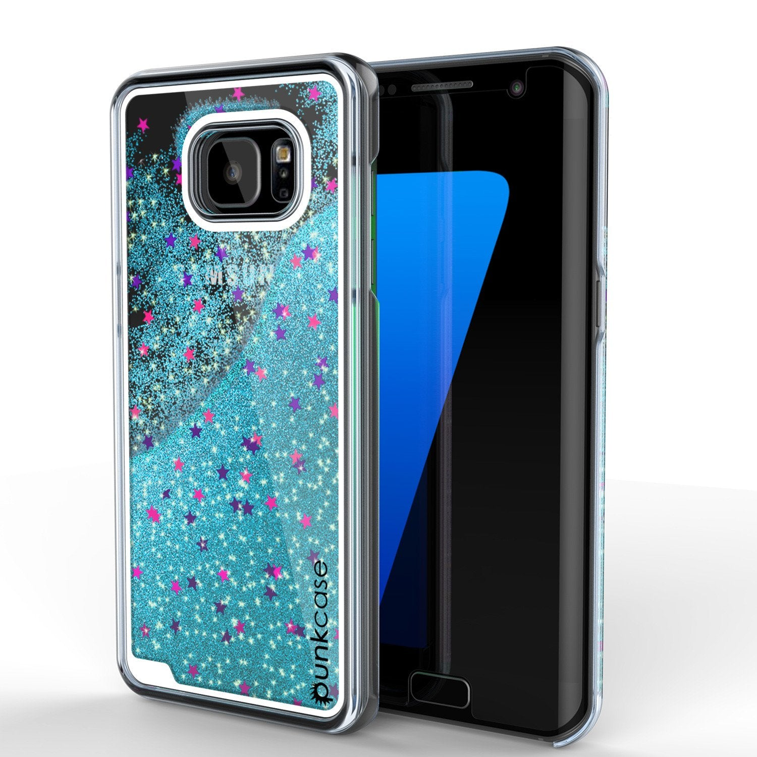 S7 Edge Case, Punkcase [Liquid Teal Series] Protective Dual Layer Floating Glitter Cover with lots of Bling & Sparkle + PunkShield Screen Protector