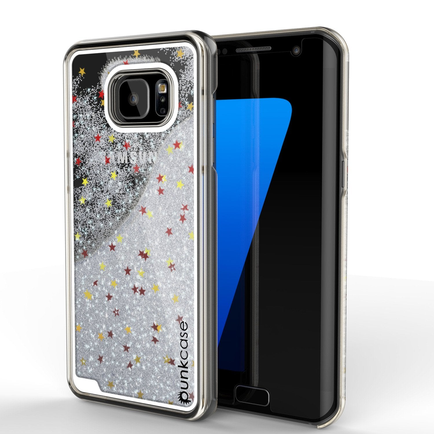 S7 Edge Case, Punkcase [Liquid Silver Series] Protective Dual Layer Floating Glitter Cover with lots of Bling & Sparkle + PunkShield Screen Protector