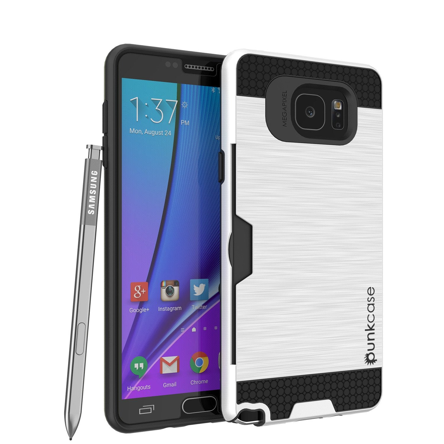 Galaxy Note 5 Case PunkCase SLOT White Series Slim Armor Soft Cover Case w/ Tempered Glass