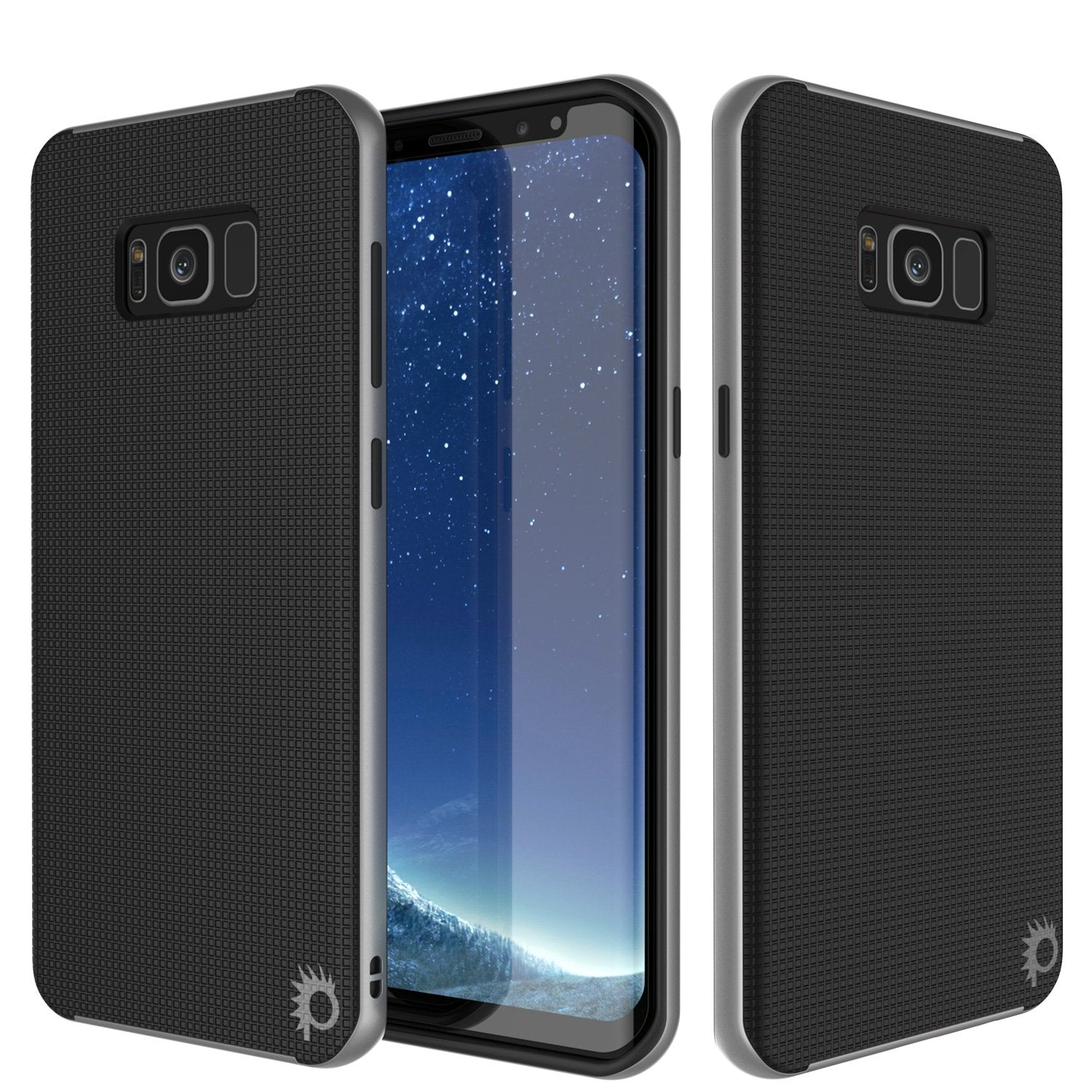 Galaxy S8 Case, PunkCase Stealth Series Hybrid Shockproof Silver Cover