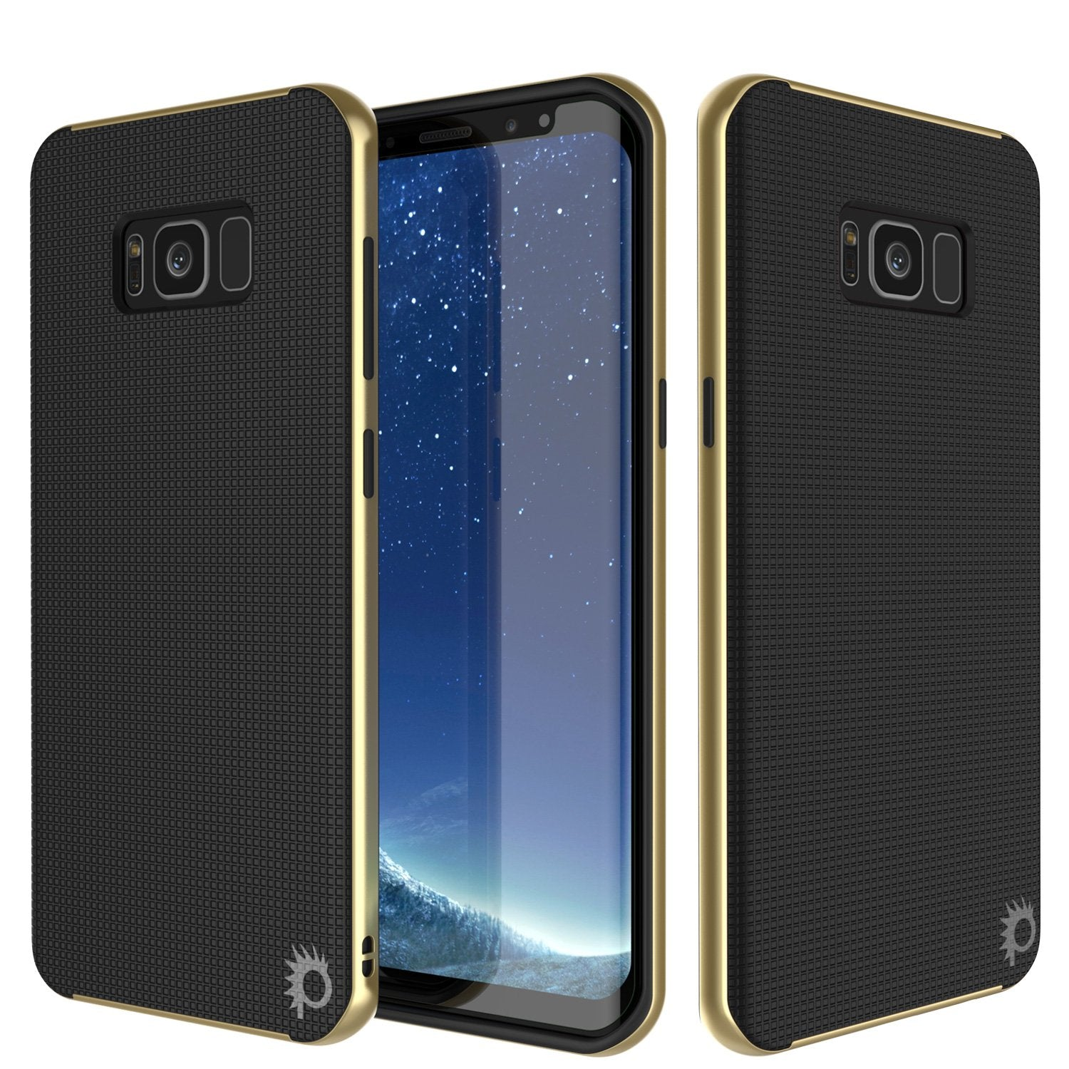 Galaxy S8 Case, PunkCase Stealth Series Hybrid Shockproof Gold Cover
