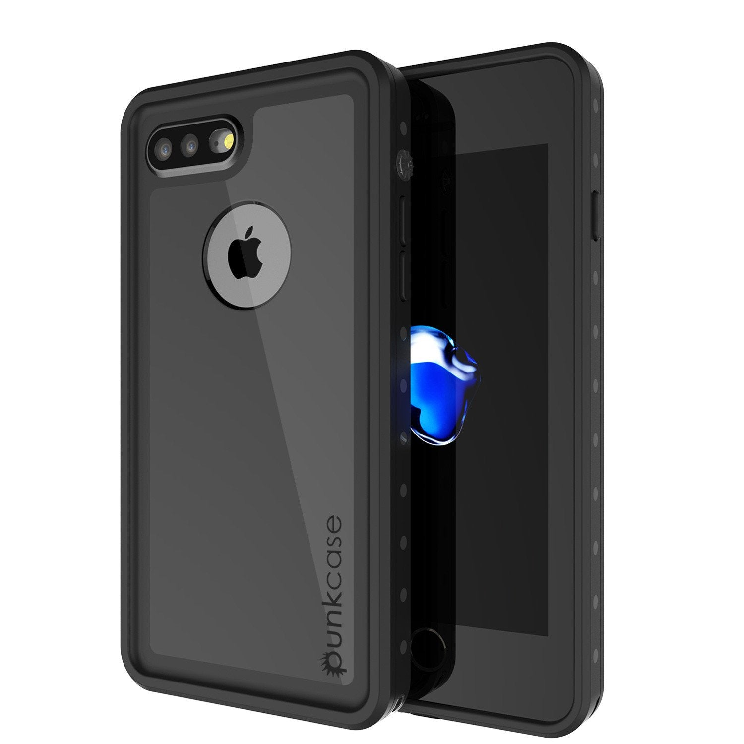 iPhone 8+ Plus Waterproof Case, Punkcase [StudStar Series] [Black] [Slim Fit] [IP68 Certified] [Shockproof] [Dirtproof] Armor Cover