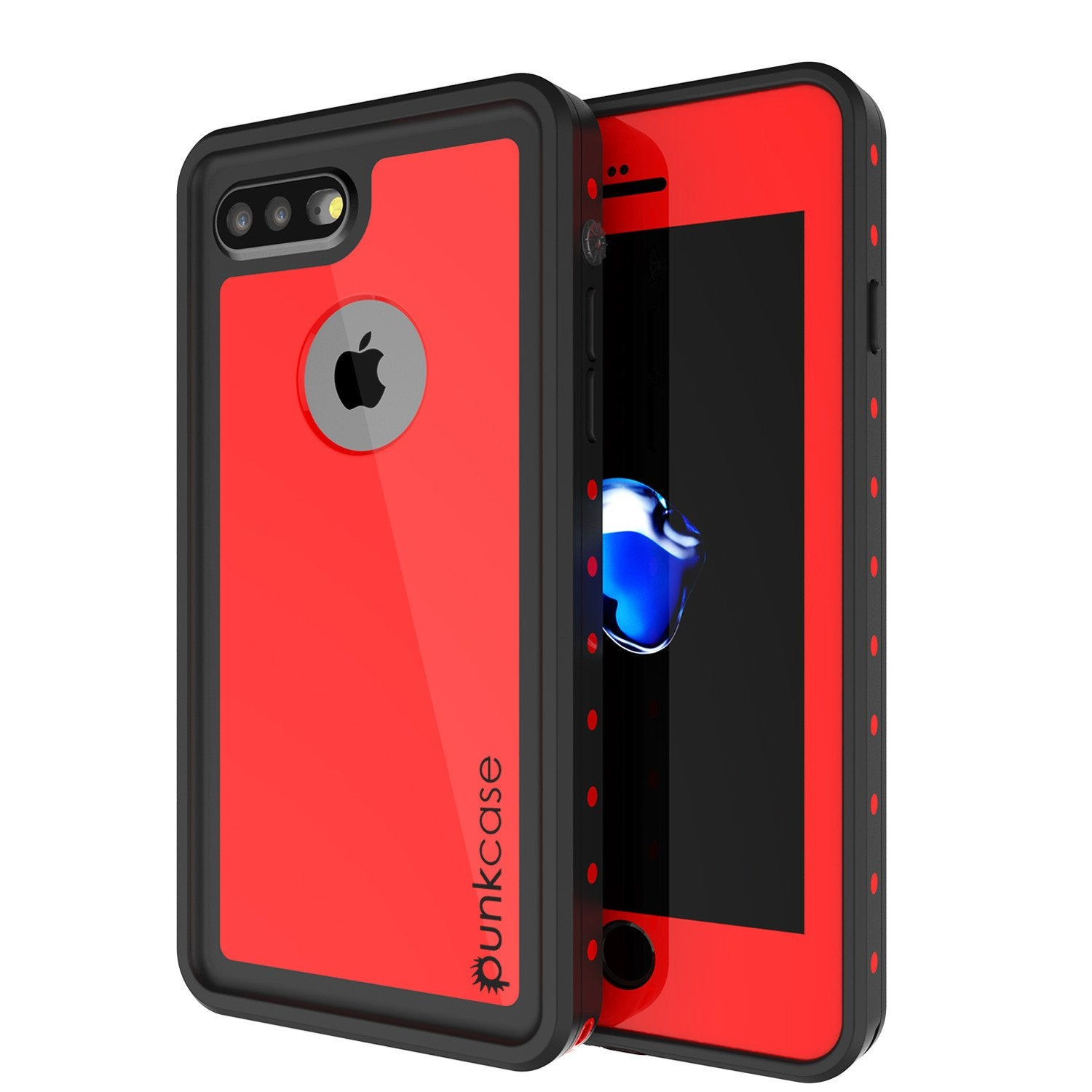 iPhone 8+ Plus Waterproof Case, Punkcase [StudStar Series] [Red] [Slim Fit] [IP68 Certified] [Shockproof] [Dirtproof] Armor Cover