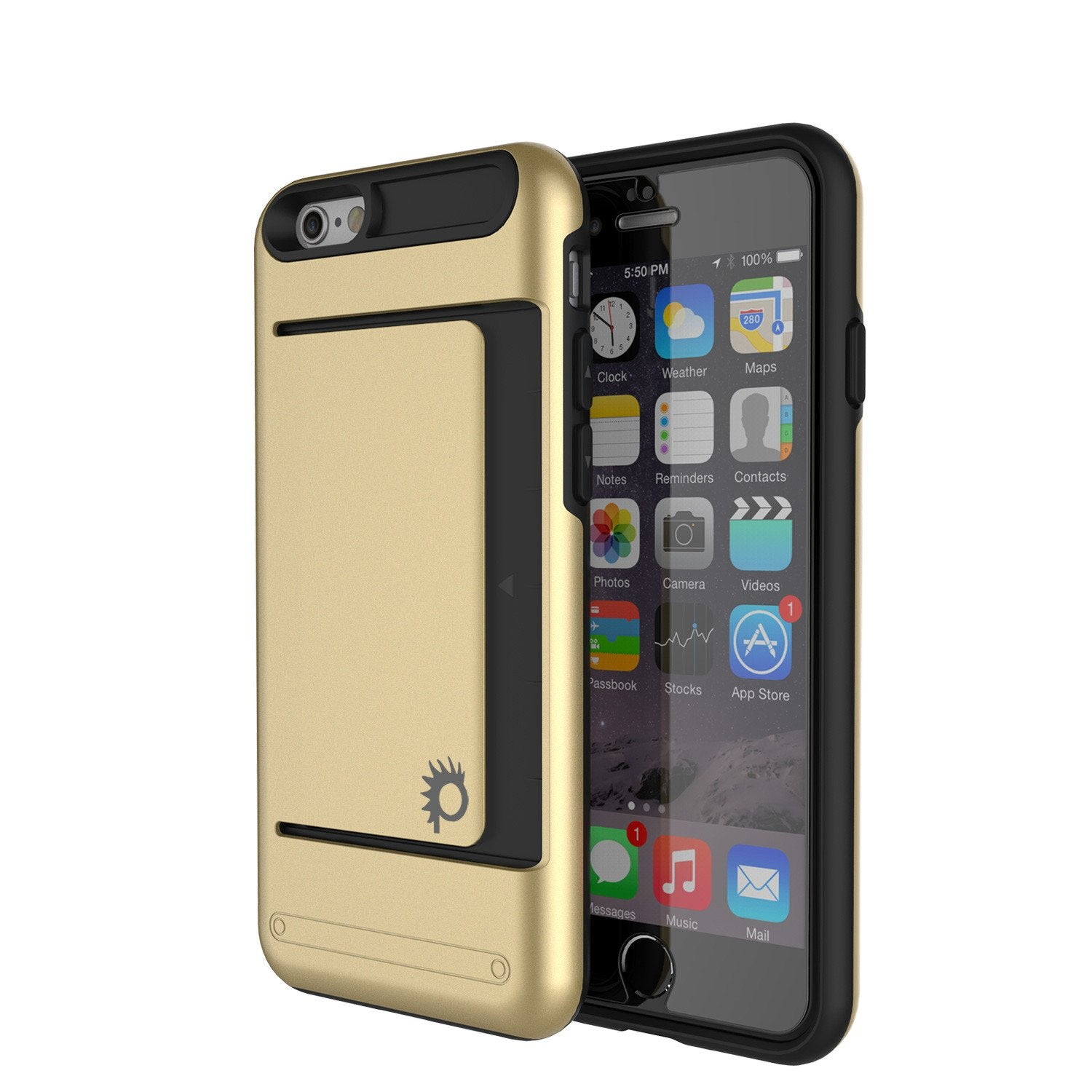 iPhone 6/6s Case PunkCase CLUTCH Gold Series Slim Armor Soft Cover Case w/ Tempered Glass