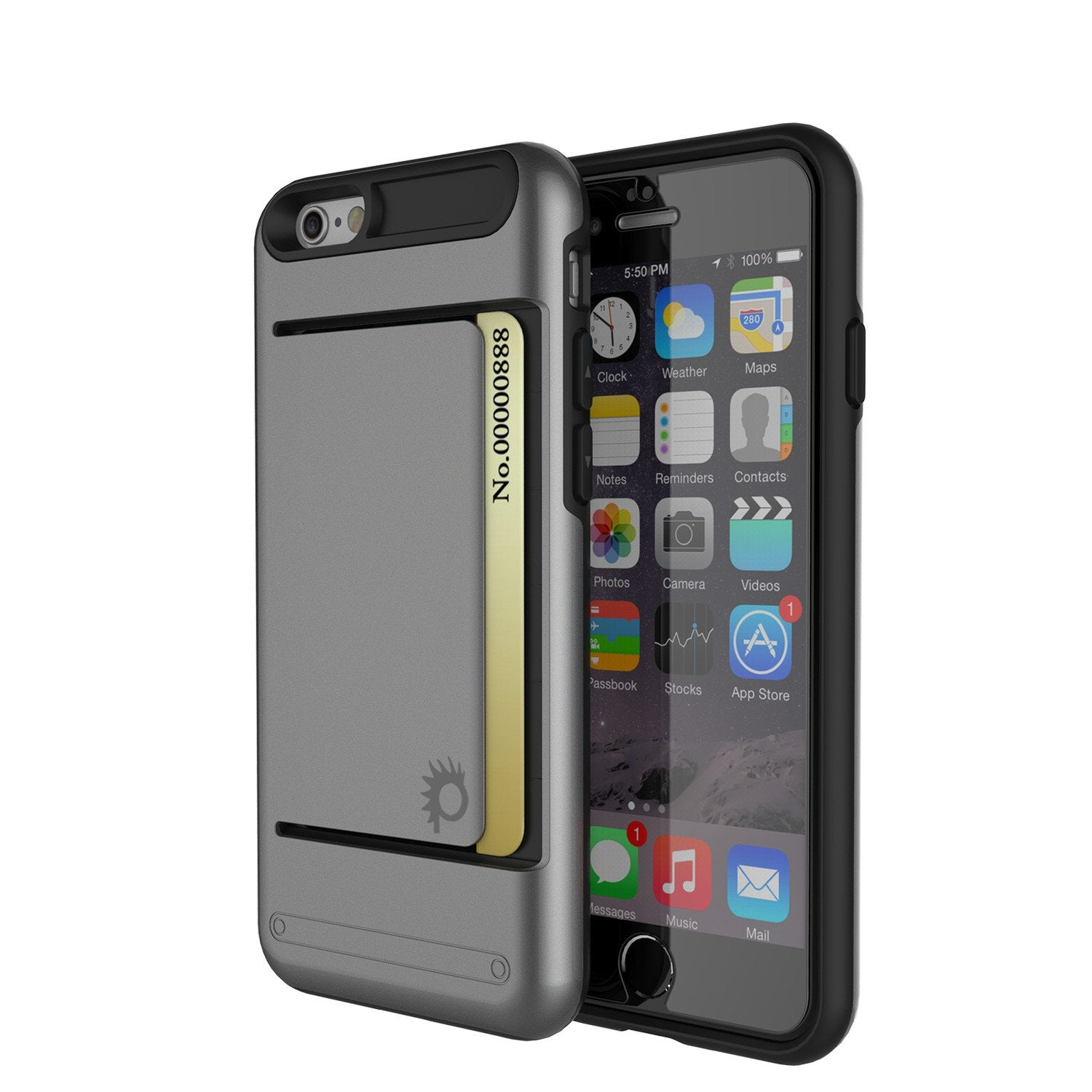 iPhone 6/6s Case PunkCase CLUTCH Grey Series Slim Armor Soft Cover Case w/ Tempered Glass