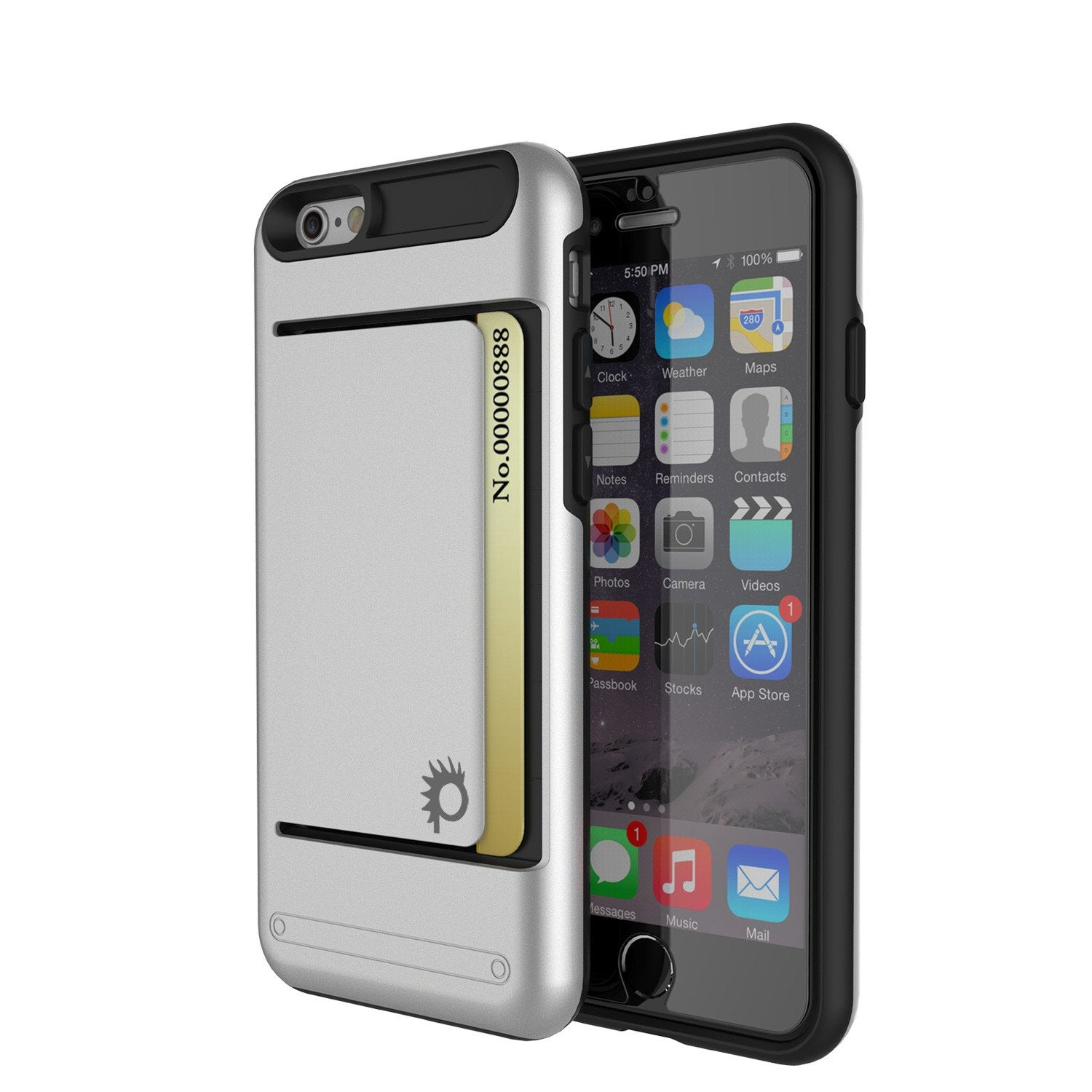 iPhone 6/6s Case PunkCase CLUTCH Silver Series Slim Armor Soft Cover Case w/ Tempered Glass