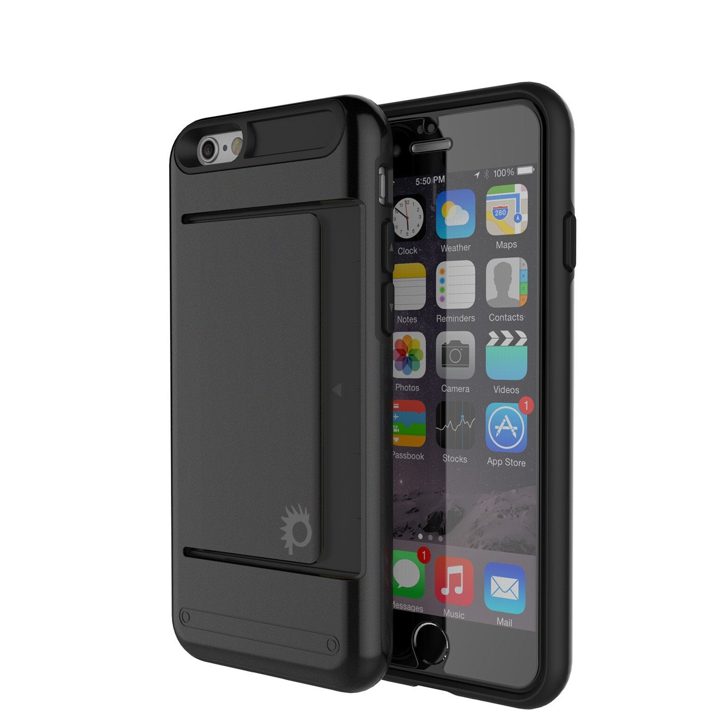 iPhone 6/6s Case PunkCase CLUTCH Black Series Slim Armor Soft Cover Case w/ Tempered Glass