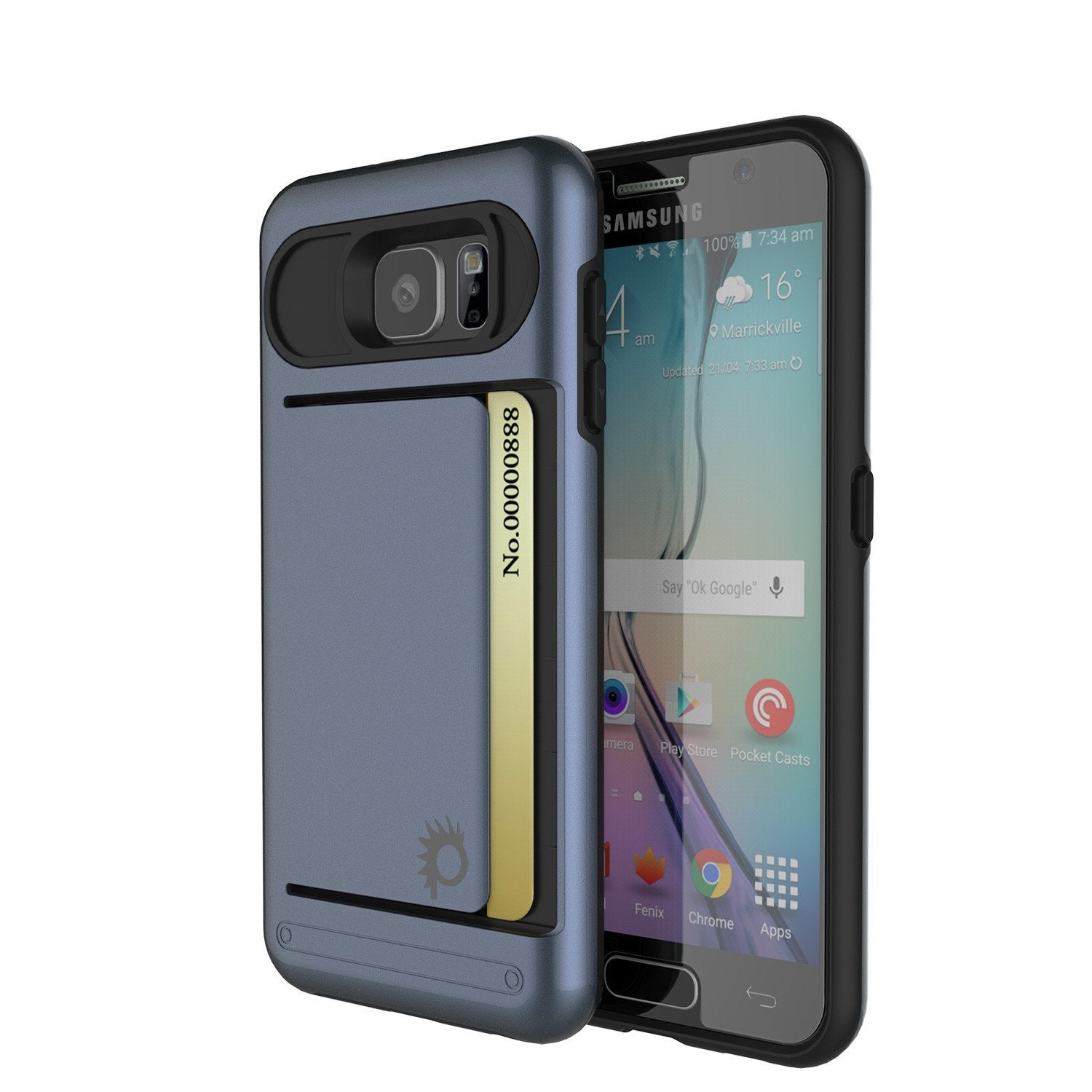 Galaxy S6 EDGE Case PunkCase CLUTCH Navy Series Slim Armor Soft Cover Case w/ Screen Protector