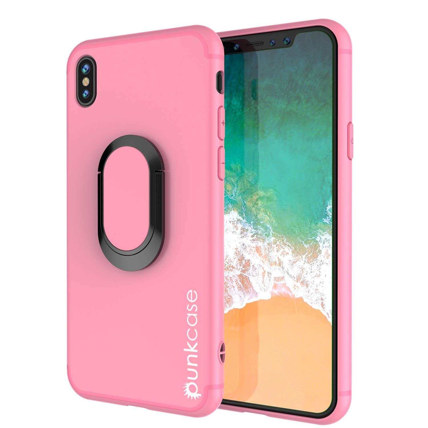 iPhone XR Case, Punkcase Magnetix Protective TPU Cover W/ Kickstand, Tempered Glass Screen Protector [Pink]