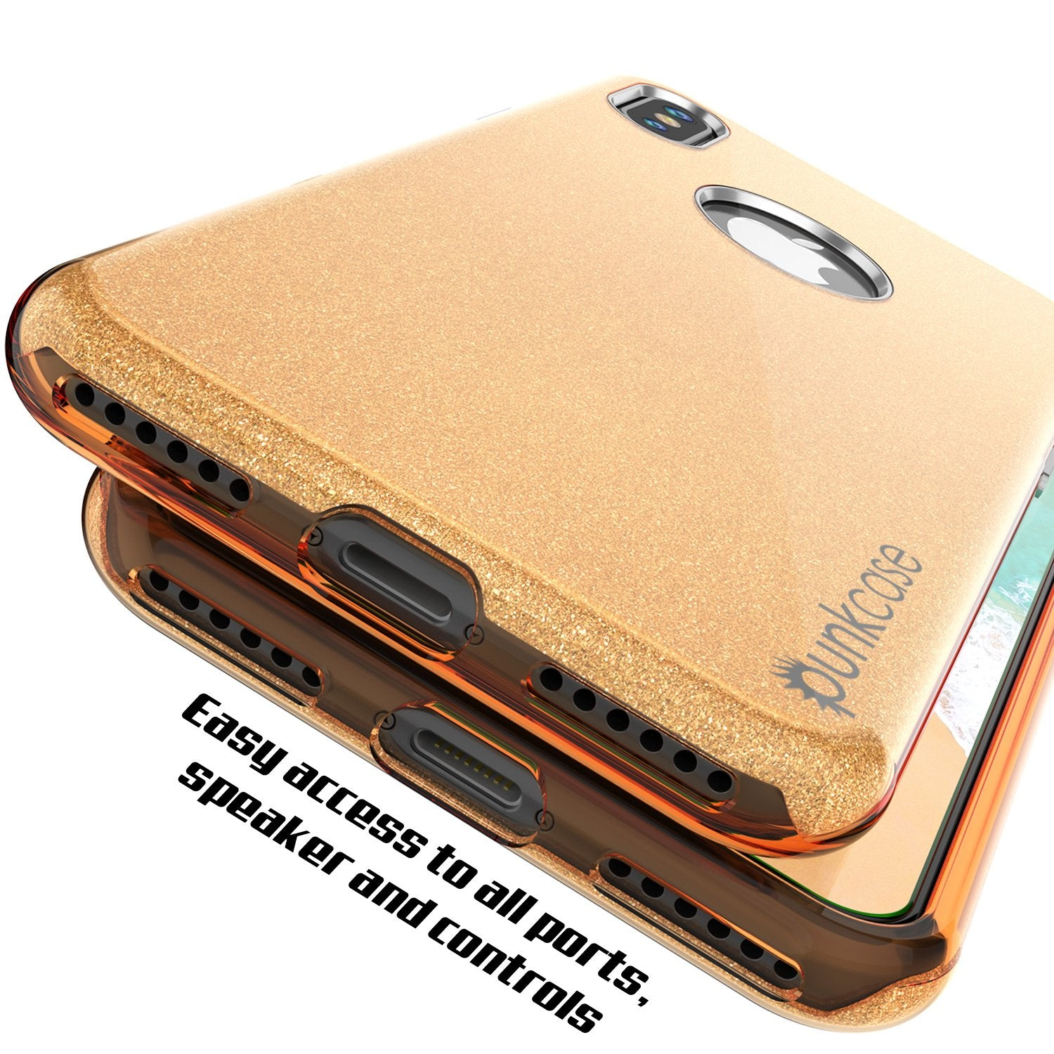 iPhone X Case, Punkcase Galactic 2.0 Series Ultra Slim w/ Tempered Glass Screen Protector | [Gold]