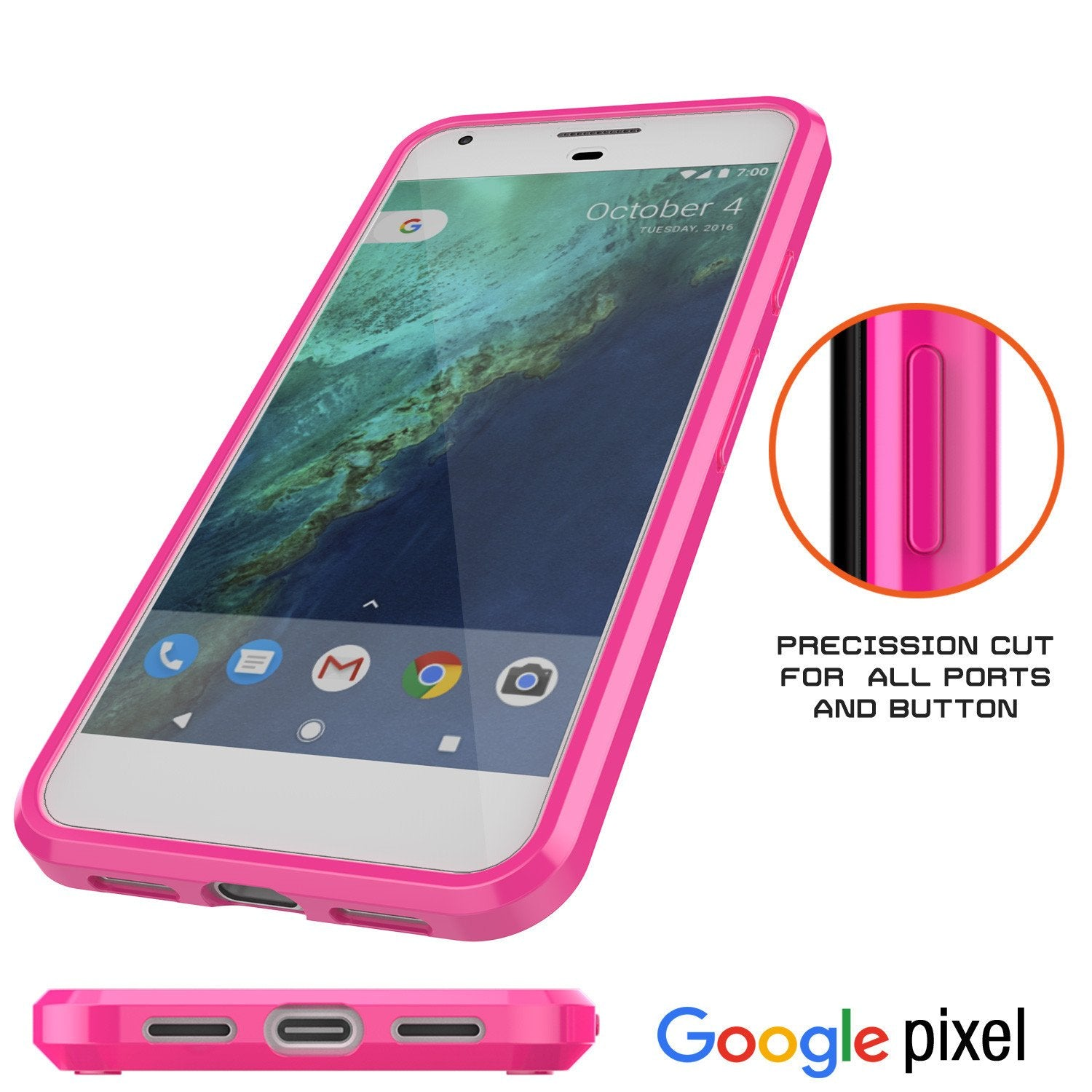 Google Pixel XL Case Punkcase® LUCID 2.0 Pink Series w/ PUNK SHIELD Glass Screen Protector | Ultra Fit