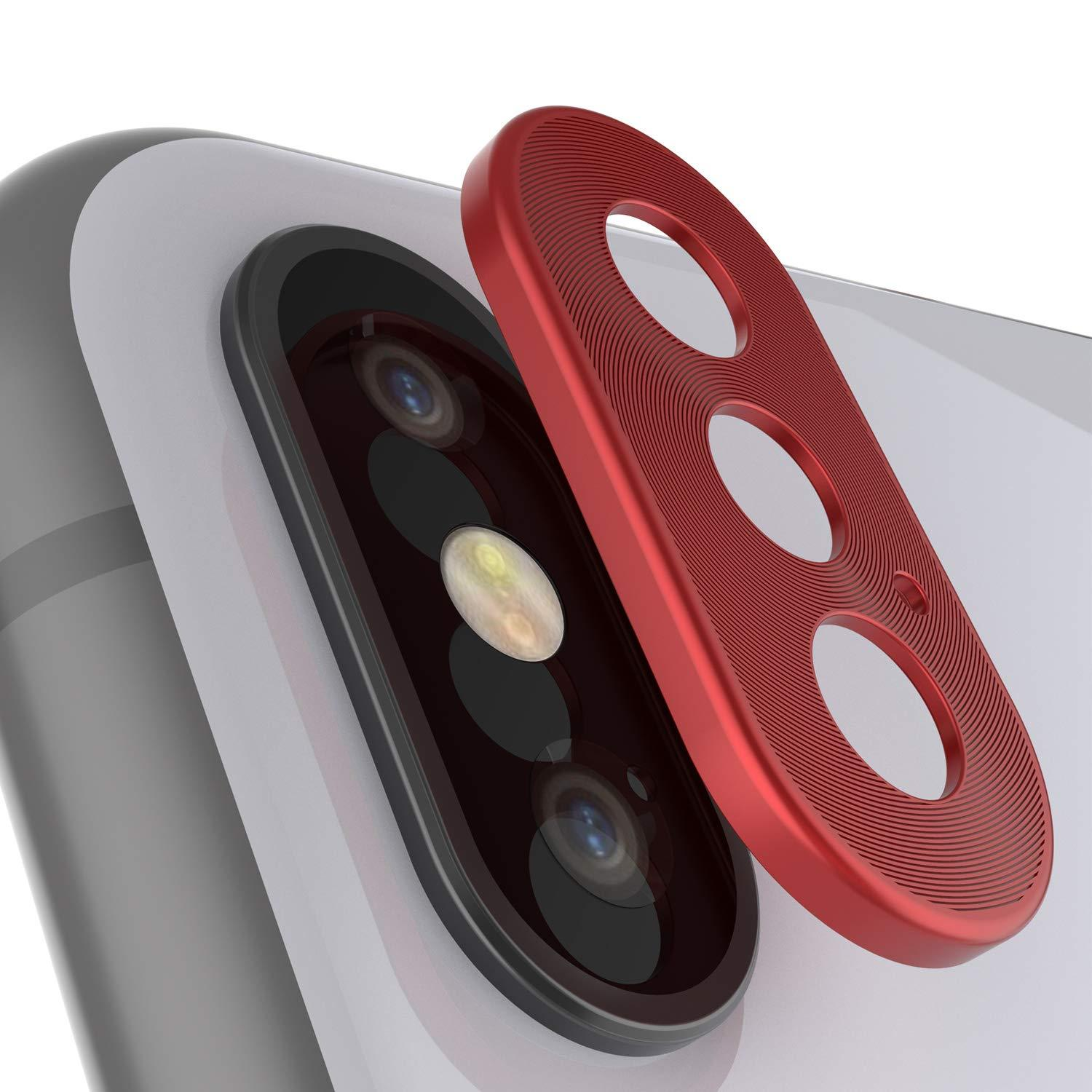 Punkcase iPhone XS Camera Protector Ring [Red]