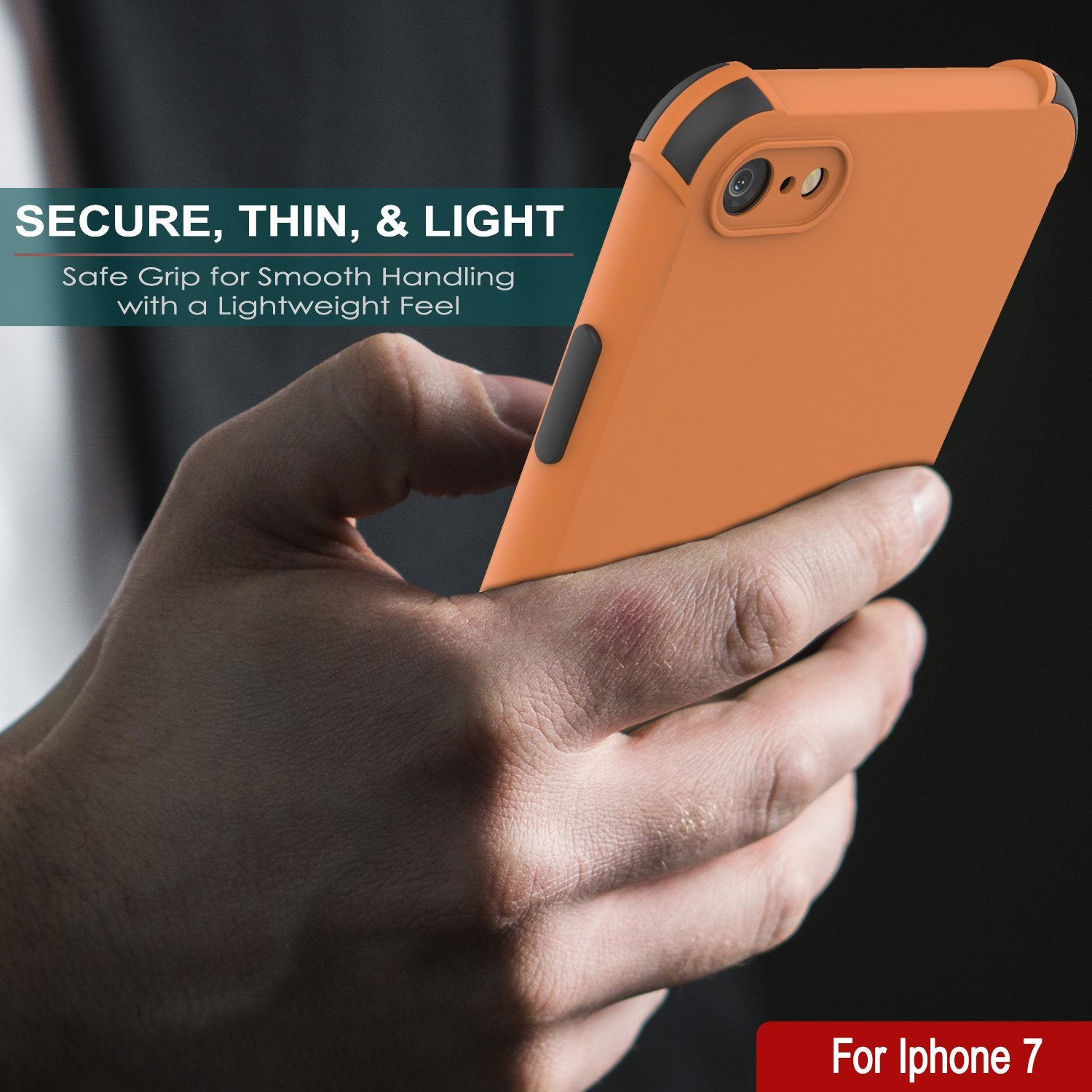Punkcase Protective & Lightweight TPU Case [Sunshine Series] for iPhone 7 [Orange]