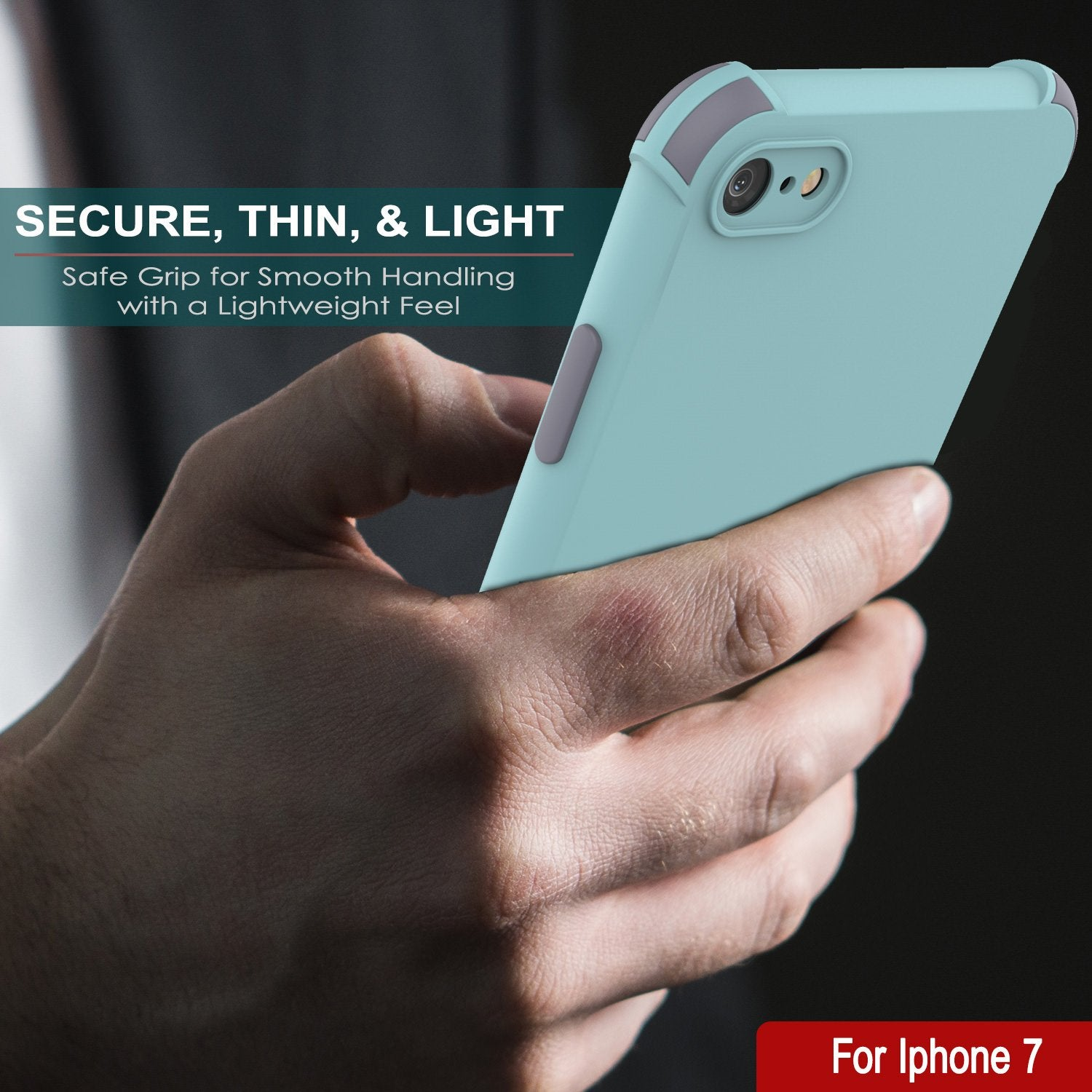 Punkcase Protective & Lightweight TPU Case [Sunshine Series] for iPhone 7 [Teal]
