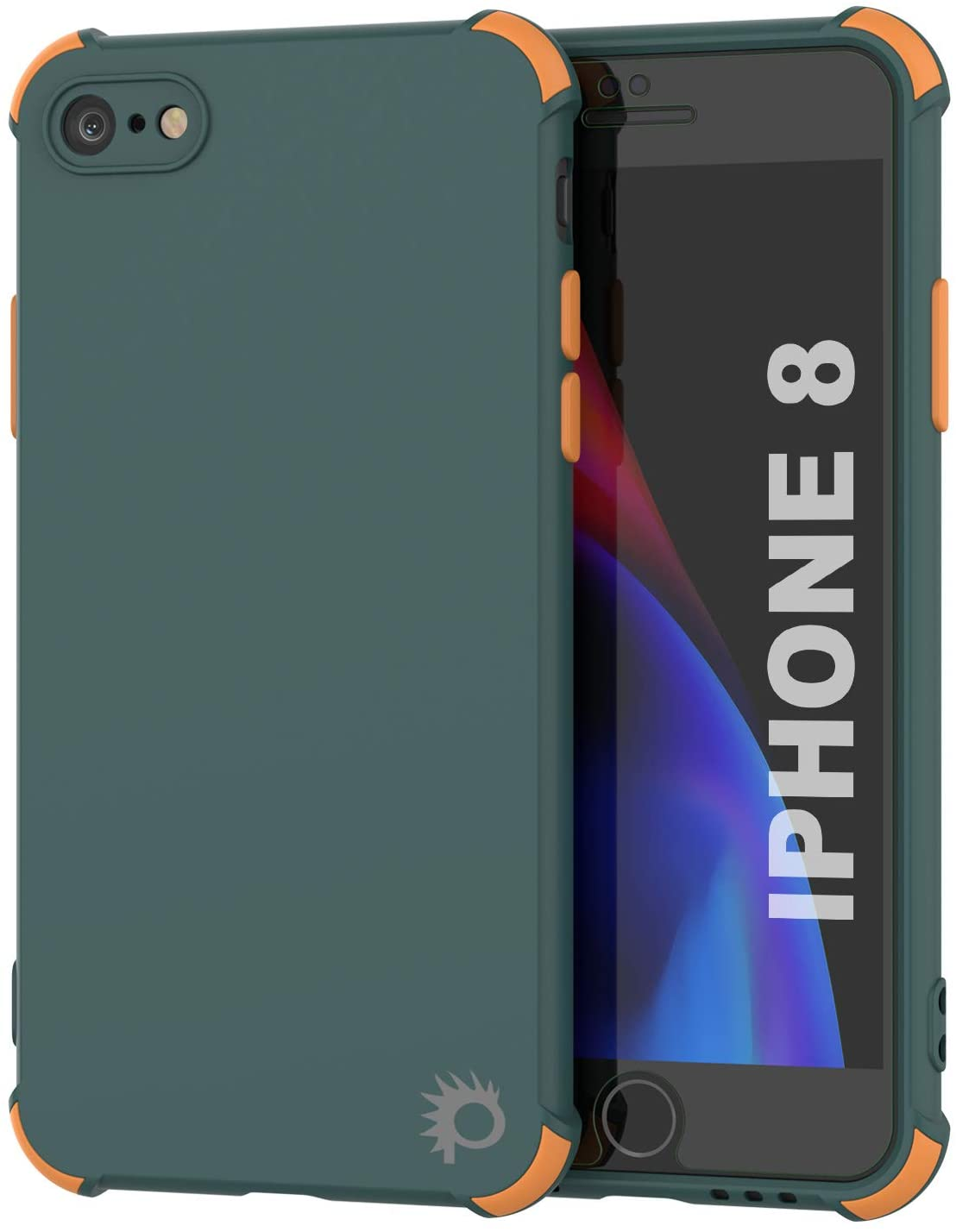 Punkcase Protective & Lightweight TPU Case [Sunshine Series] for iPhone 8 [Dark Green]