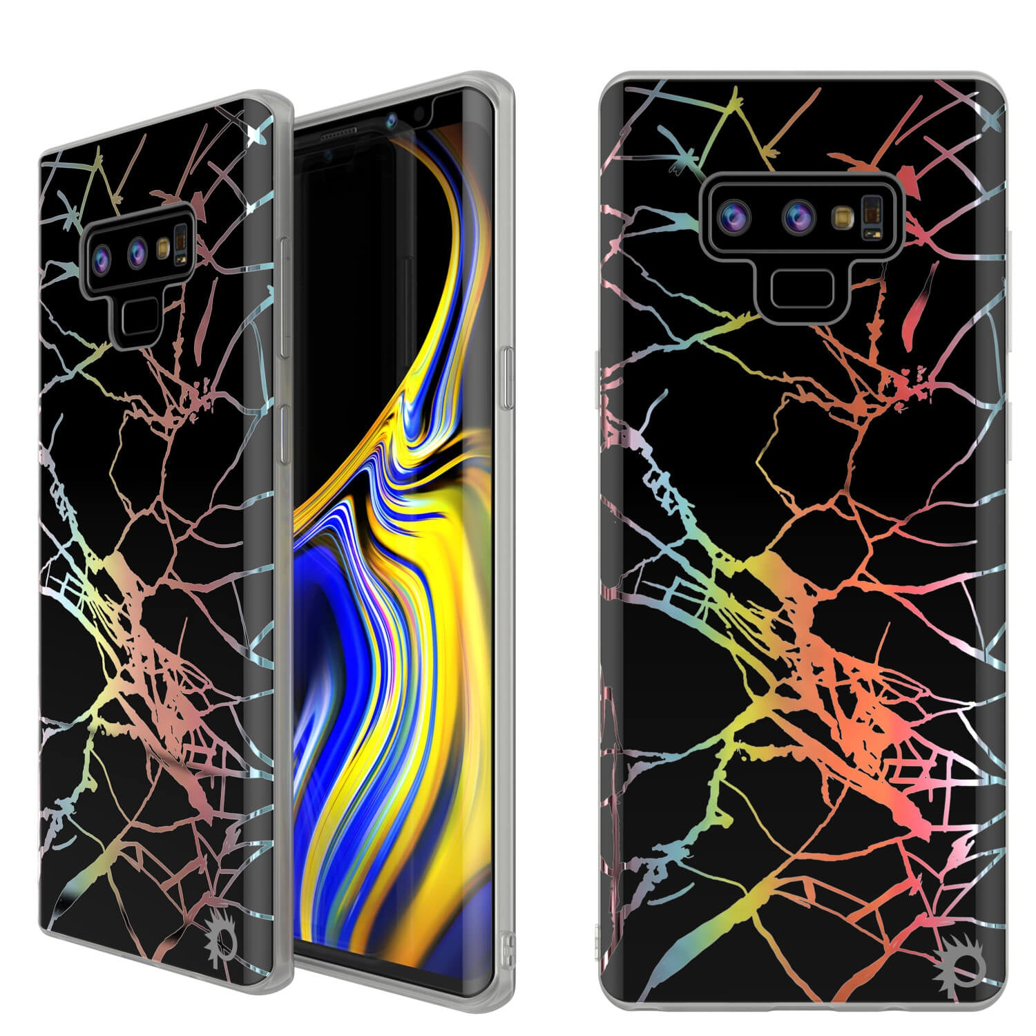 Galaxy Note 9 Full Body W/ Screen Protector Marble Case (Black Mirage)