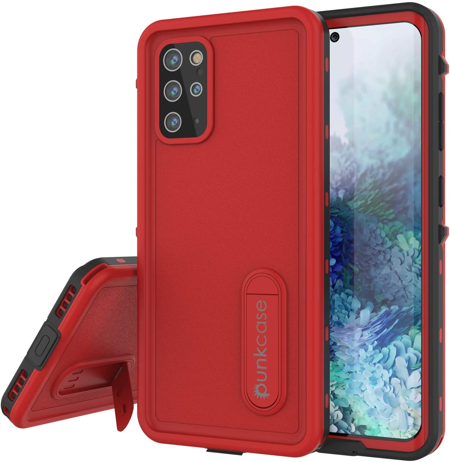 Galaxy S20+ Plus Waterproof Case, Punkcase [KickStud Series] Armor Cover [Red]