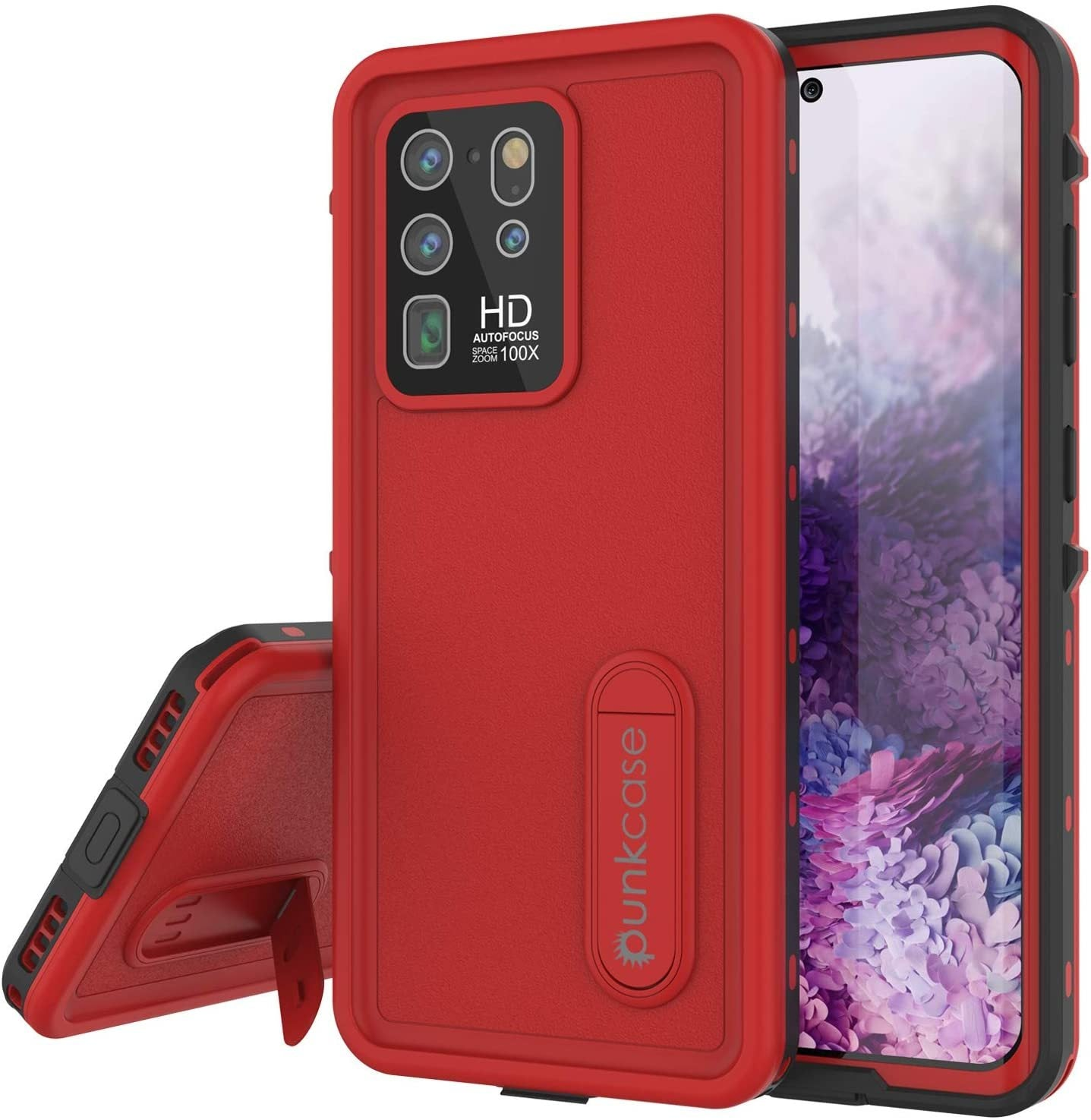 Galaxy S20 Ultra Waterproof Case, Punkcase [KickStud Series] Armor Cover [Red]