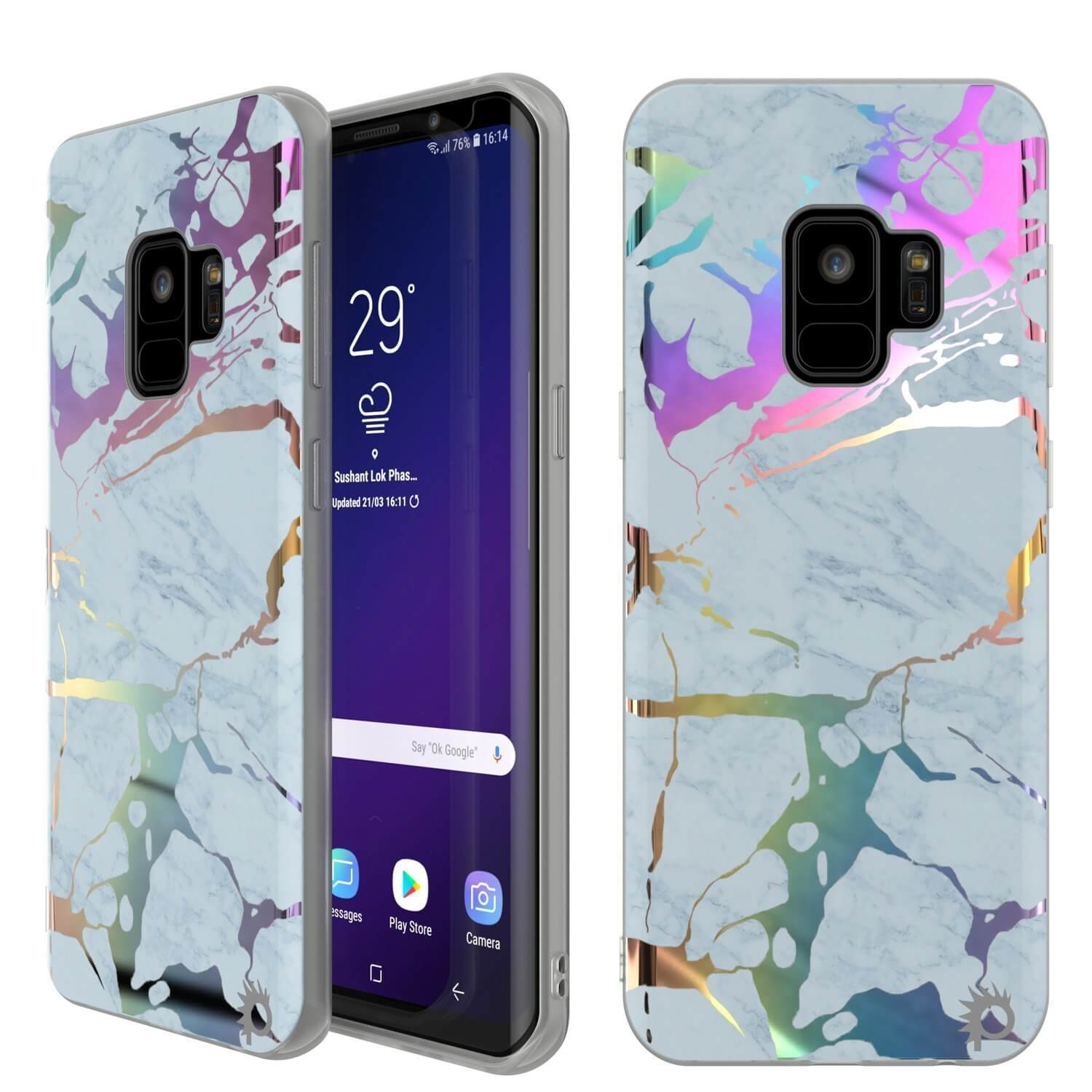 Galaxy S9 Marble Case |Protective Screen Non-Slip Case [Blue Marmo]