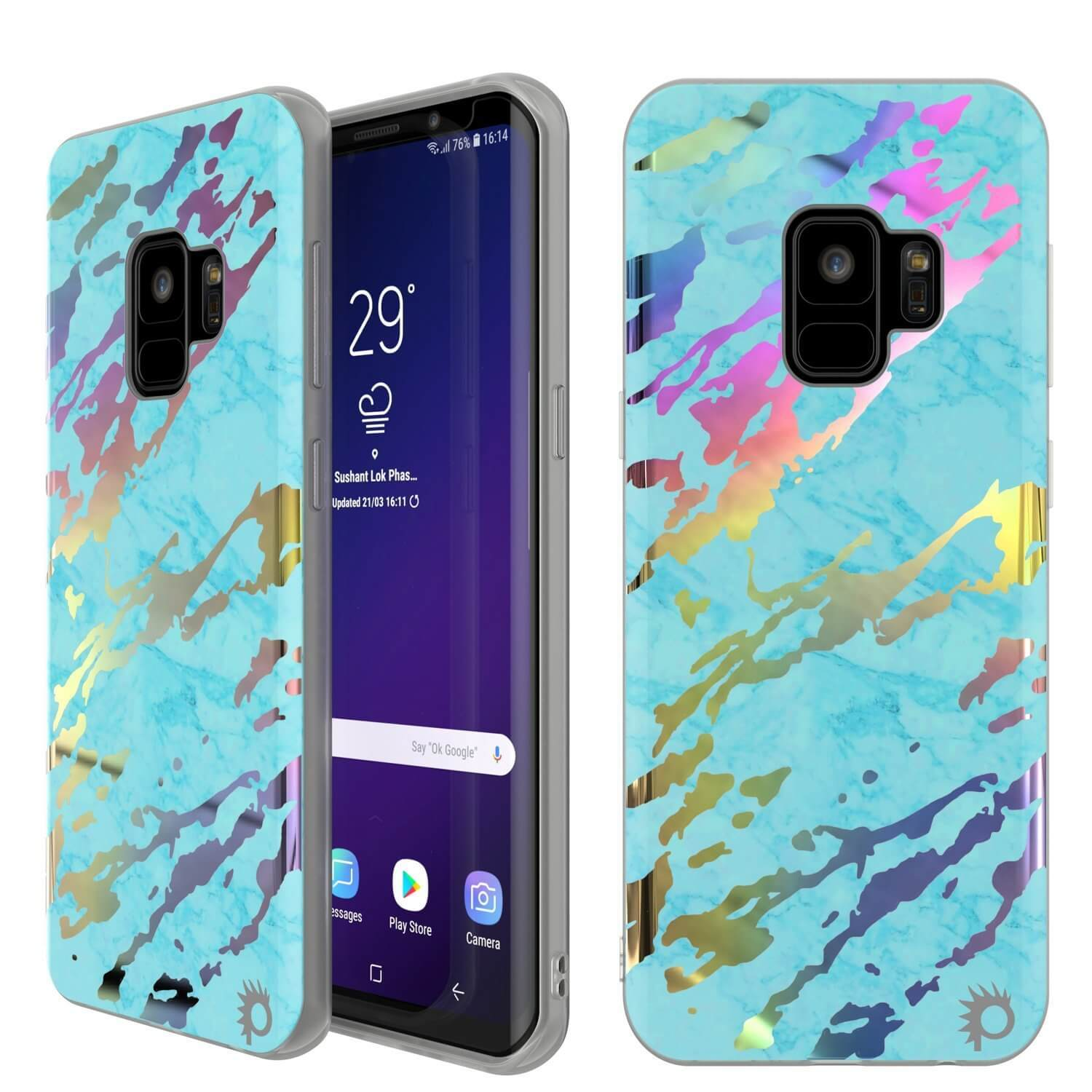 Galaxy S9 Marble Case |Protective Screen Non-Slip Case [Teal Onyx]