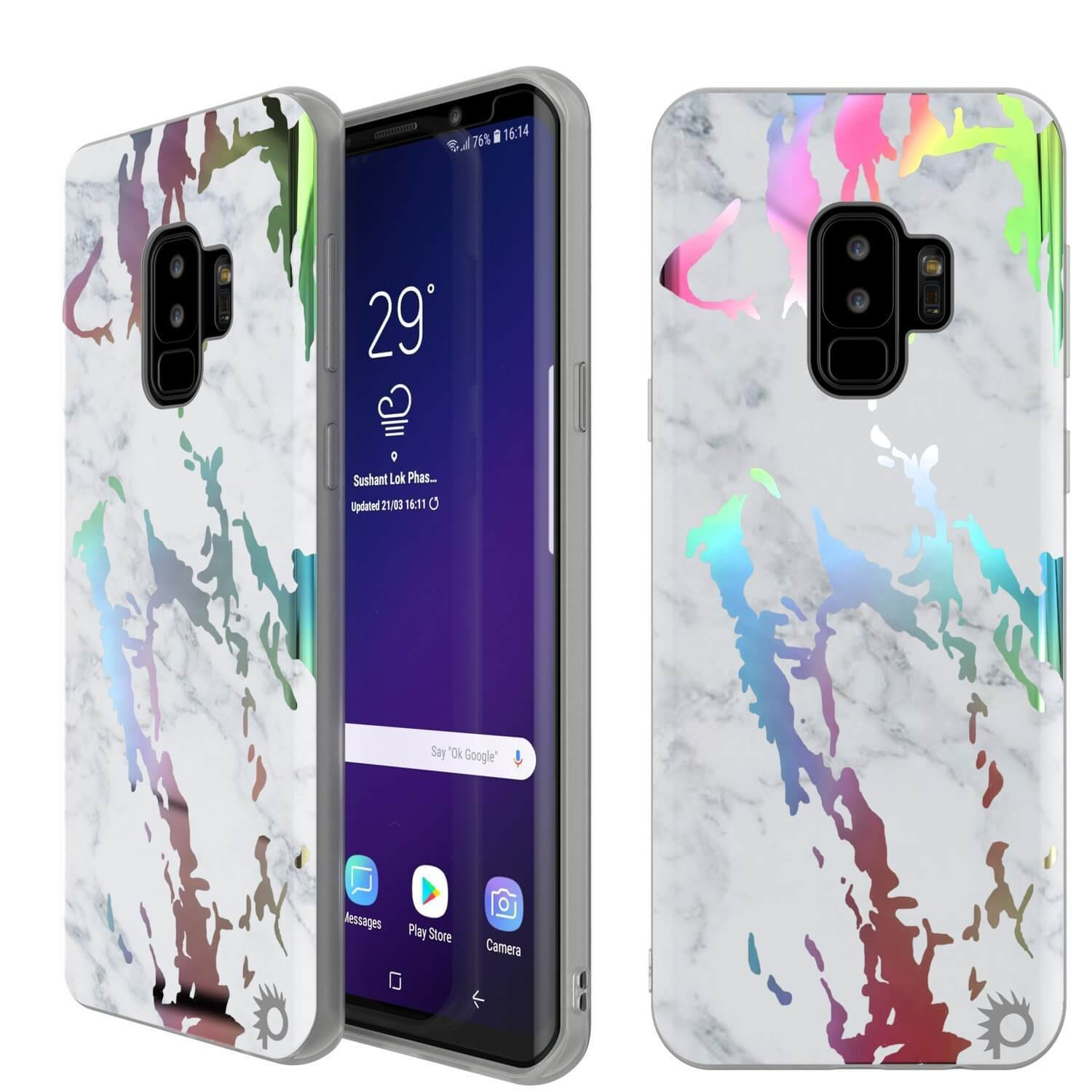 Punkcase Galaxy S9+ Marble Case, Protective Full Body Cover W/PunkShield Screen Protector (Blanco Marmo)