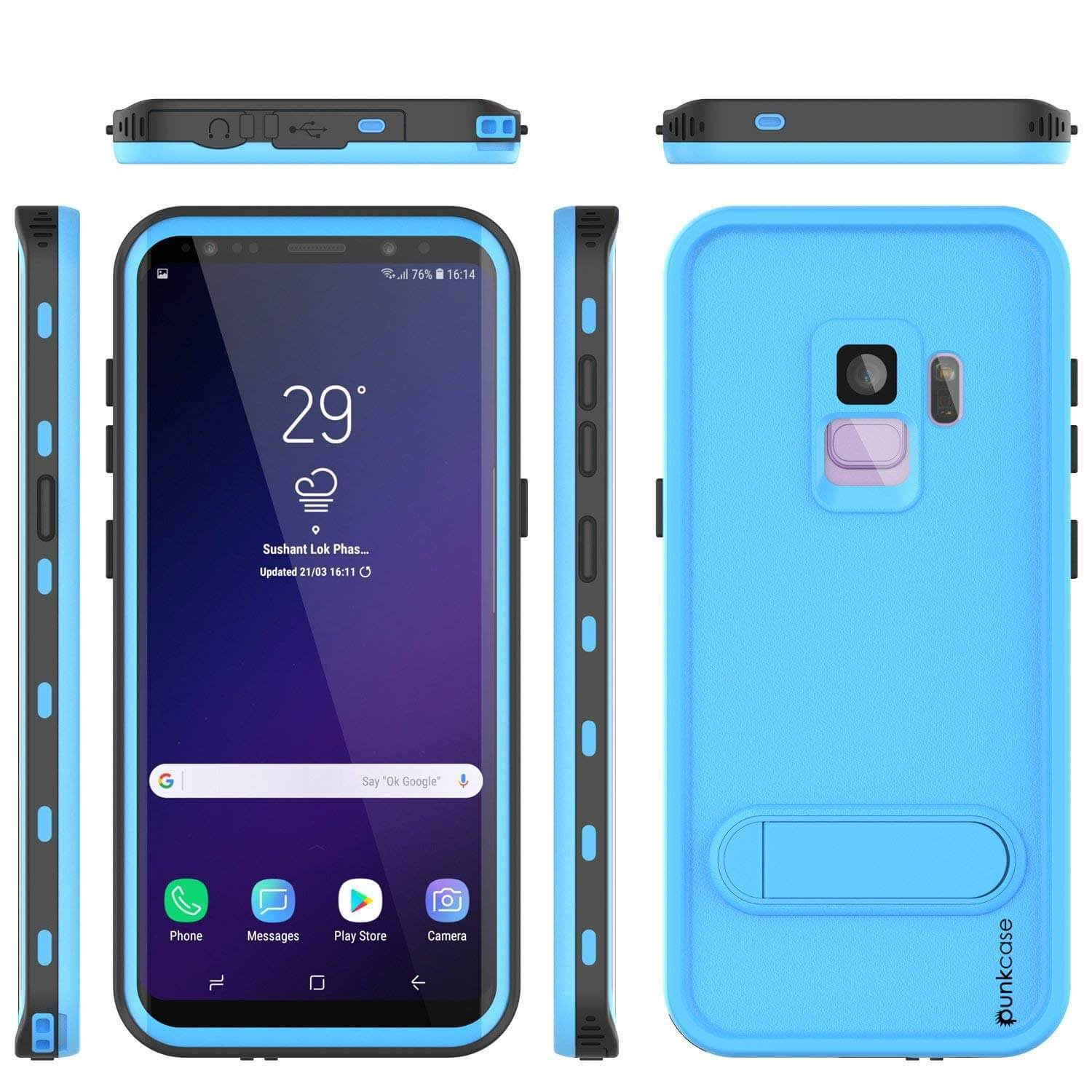 Galaxy S9 Water/Shockproof Slim Screen Protector Case [LIGHT Blue]