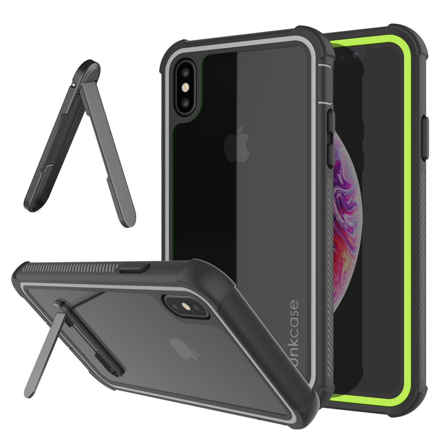 PunkCase iPhone XS Case, [Spartan Series] Clear Rugged Heavy Duty Cover W/Built in Screen Protector [Light-Green]