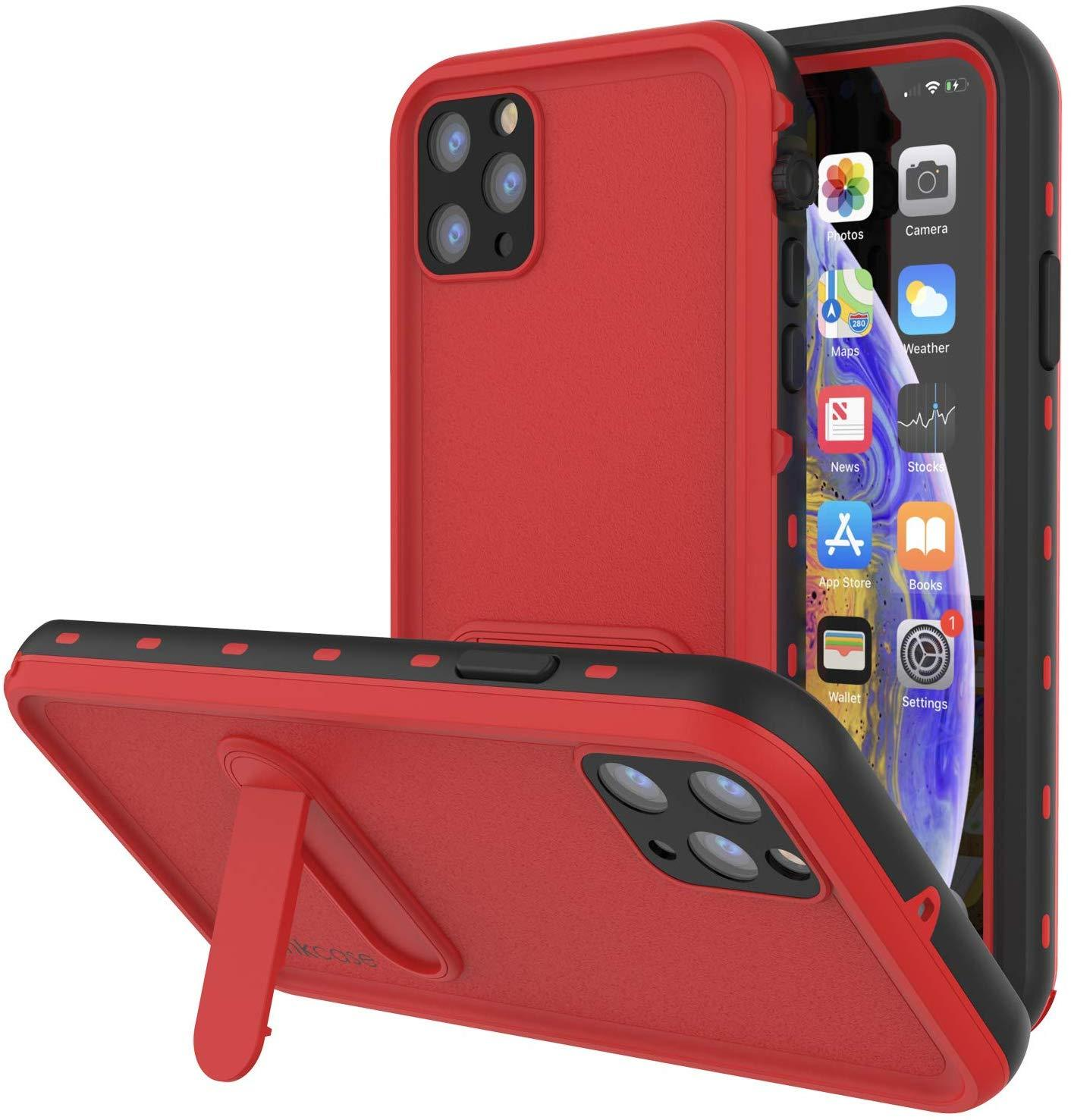 iPhone 11 Pro Max Waterproof Case, Punkcase [KickStud Series] Armor Cover [Red]