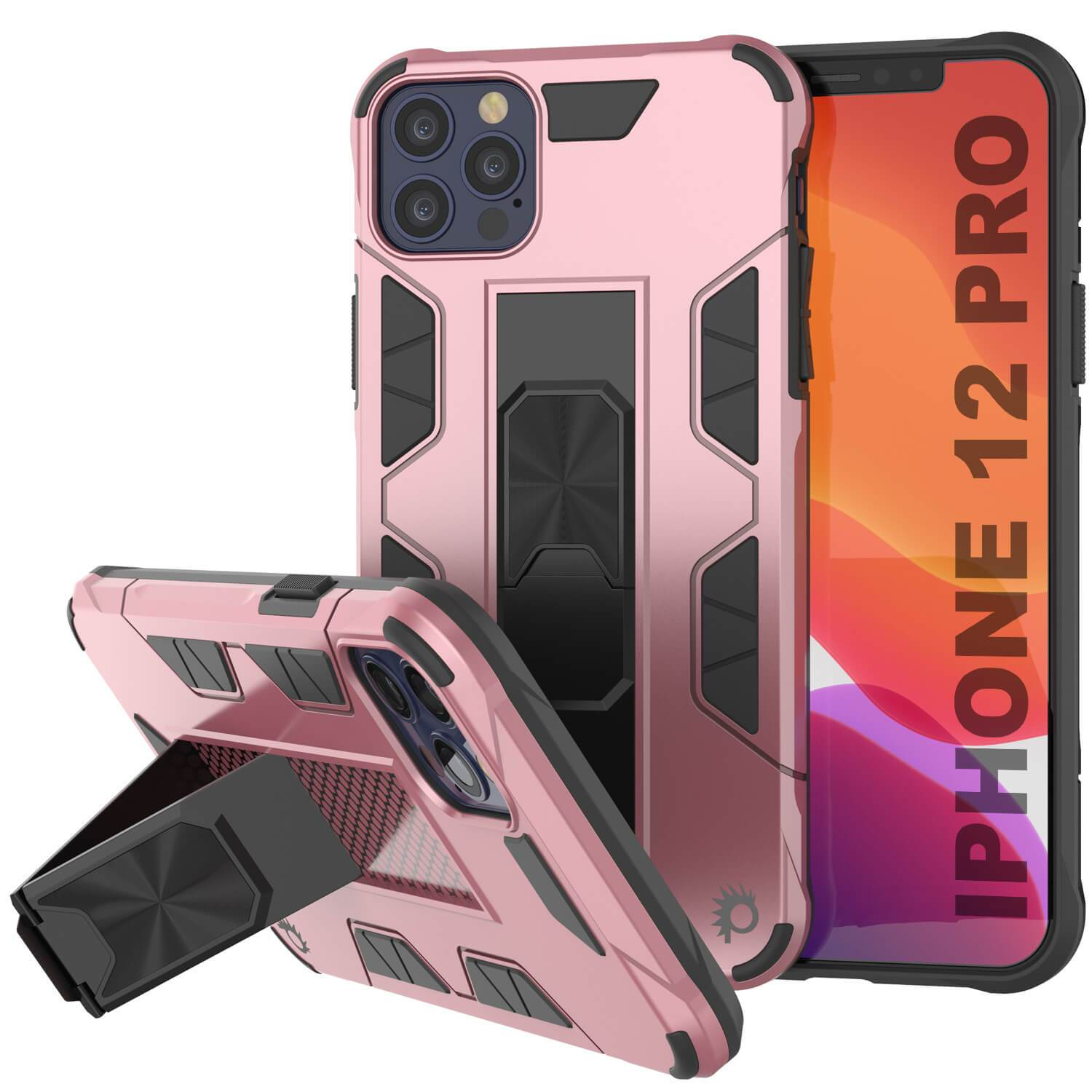 Punkcase iPhone 12 Pro Case [ArmorShield Series] Military Style Protective Dual Layer Case Rose-Gold