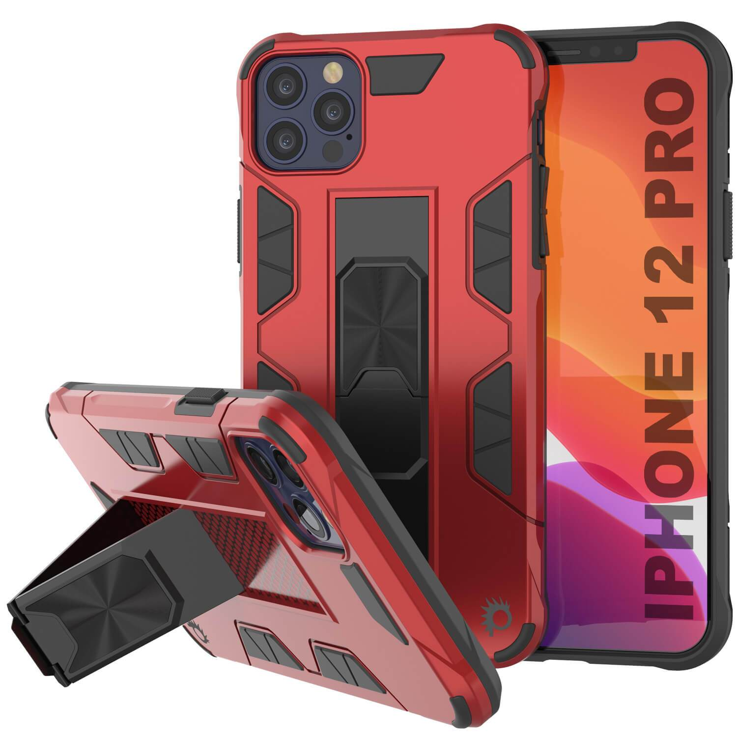 Punkcase iPhone 12 Pro Case [ArmorShield Series] Military Style Protective Dual Layer Case Red