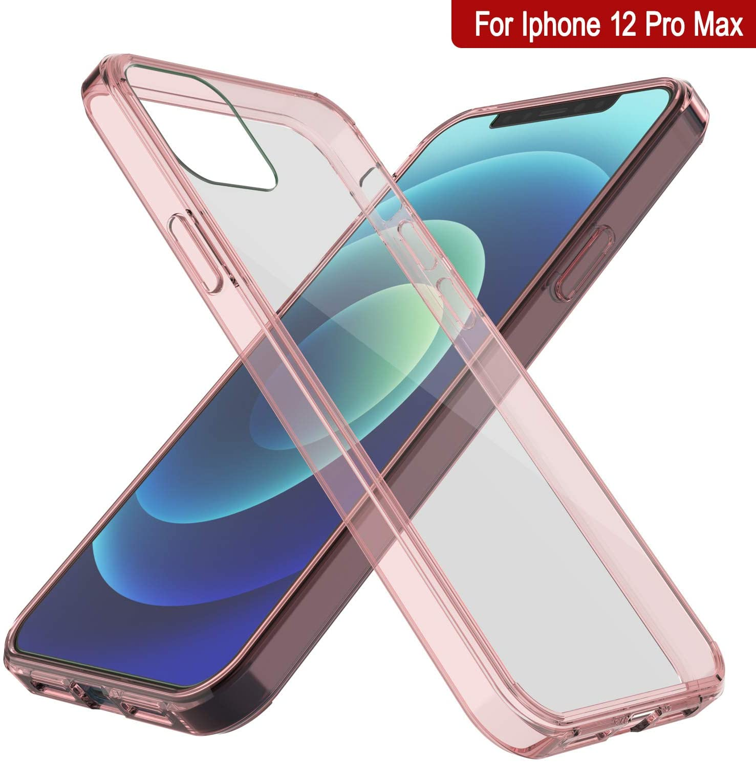 iPhone 12 Pro Max Case Punkcase® LUCID 2.0 Crystal Pink Series w/ PUNK SHIELD Screen Protector | Ultra Fit
