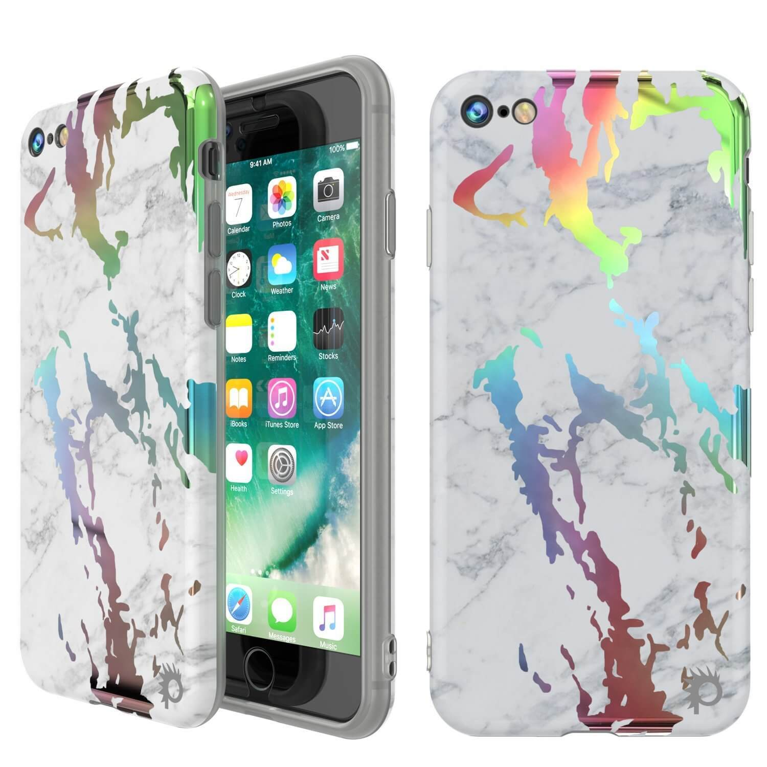 Punkcase iPhone 8 / 7 Marble Case, Protective Full Body Cover W/9H Tempered Glass Screen Protector (Blanco Marmo)