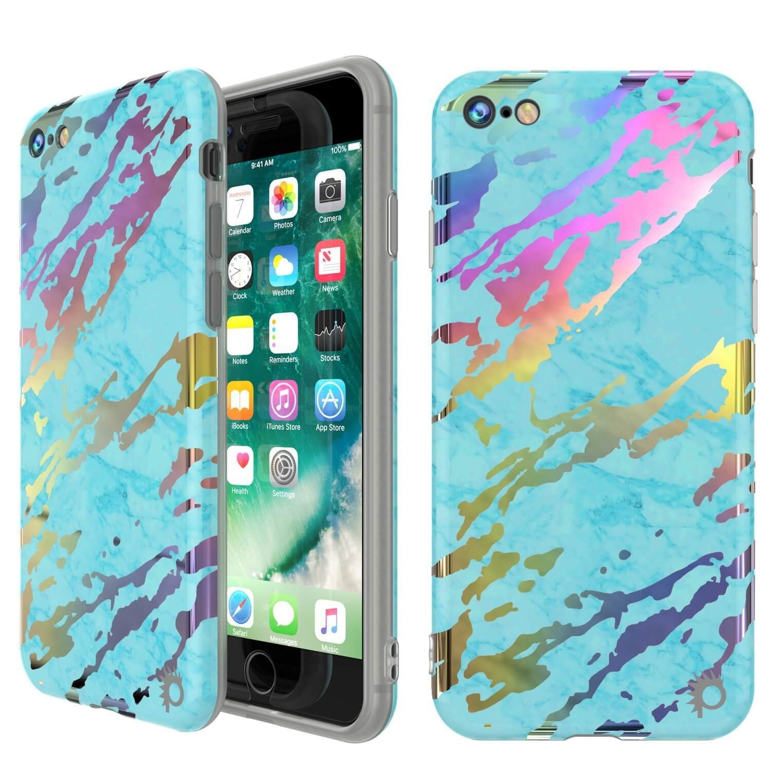 Punkcase iPhone 8 / 7 Marble Case, Protective Full Body Cover W/9H Tempered Glass Screen Protector (Teal Onyx)