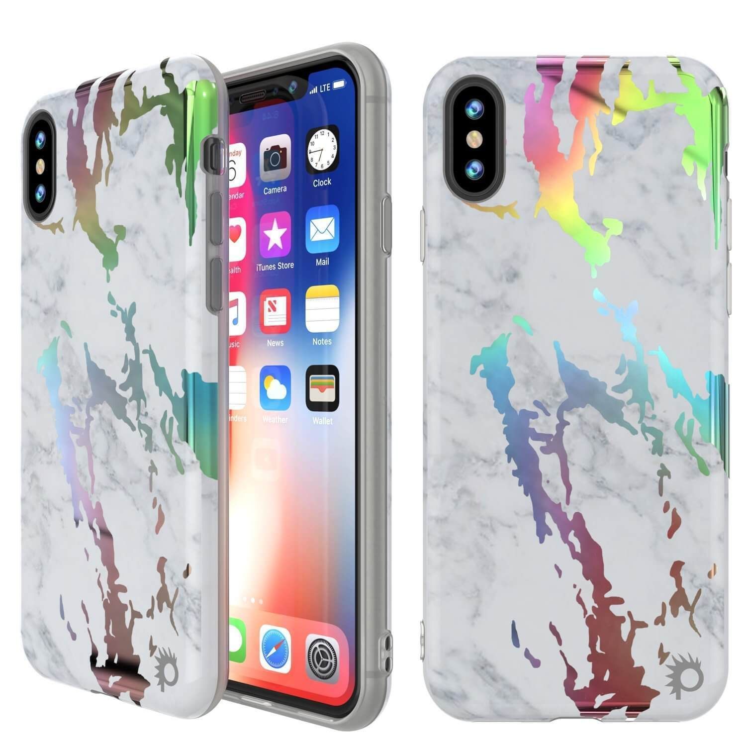Punkcase iPhone XS Max Marble Case, Protective Full Body Cover W/9H Tempered Glass Screen Protector (Blanco Marmo)