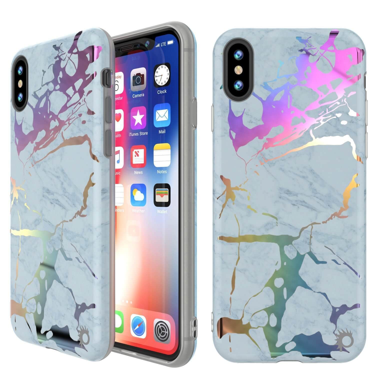 Punkcase iPhone X Marble Case, Protective Full Body Cover W/9H Tempered Glass Screen Protector (Blue Marmo)