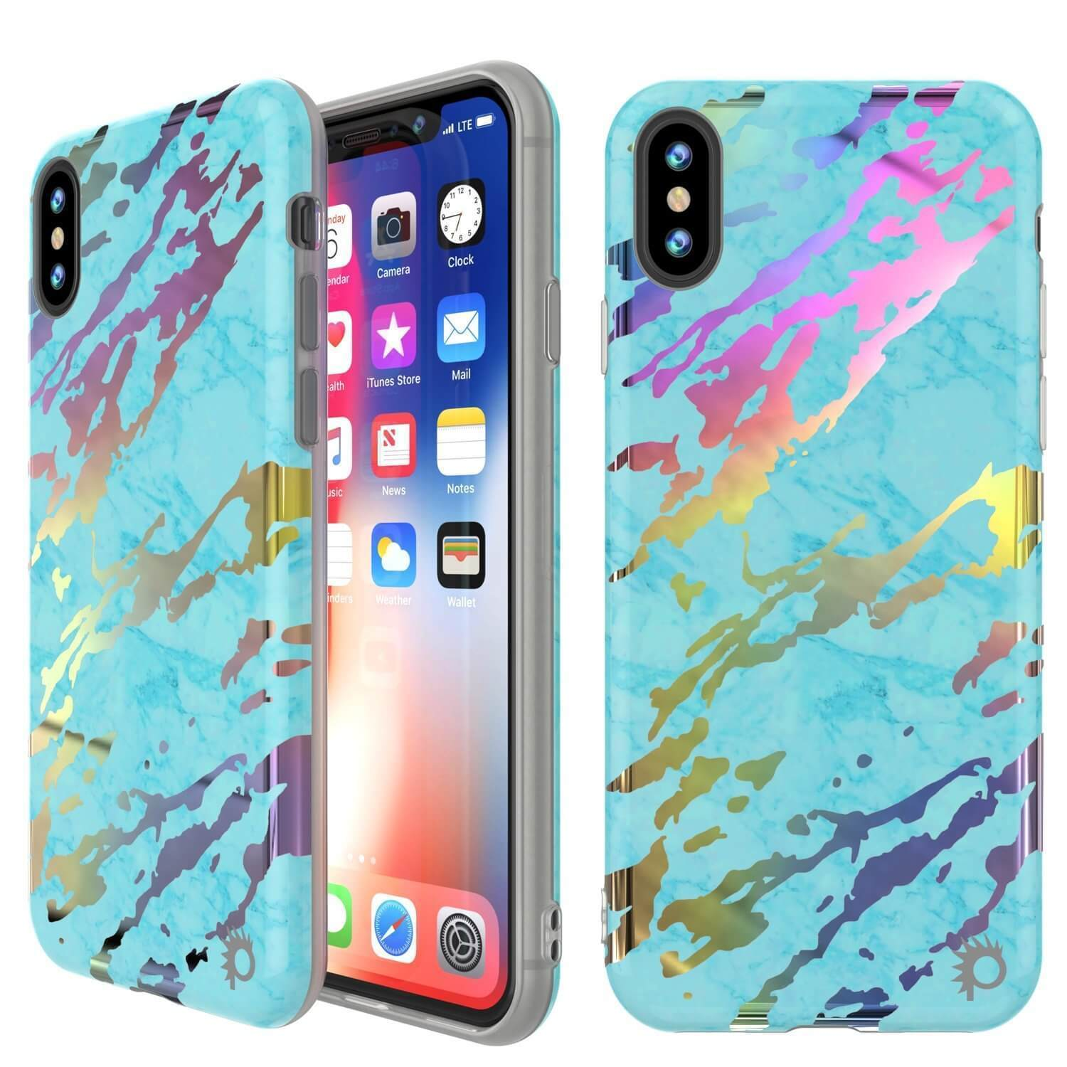 Punkcase iPhone XS Max Marble Case, Protective Full Body Cover W/9H Tempered Glass Screen Protector (Teal Onyx)