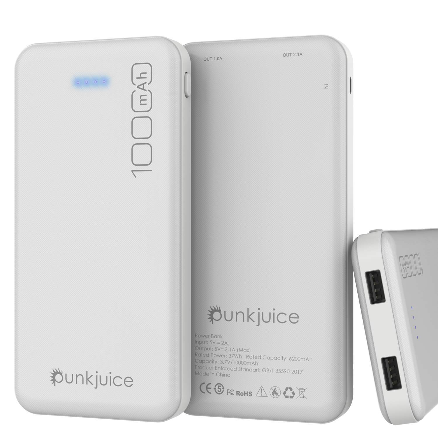 PunkCase PowerBank 10000mah Battery Pack for iPhone X/XS/Max/XR / 11/10, iPad, Samsung Galaxy S10 / S9 and Many More [White]