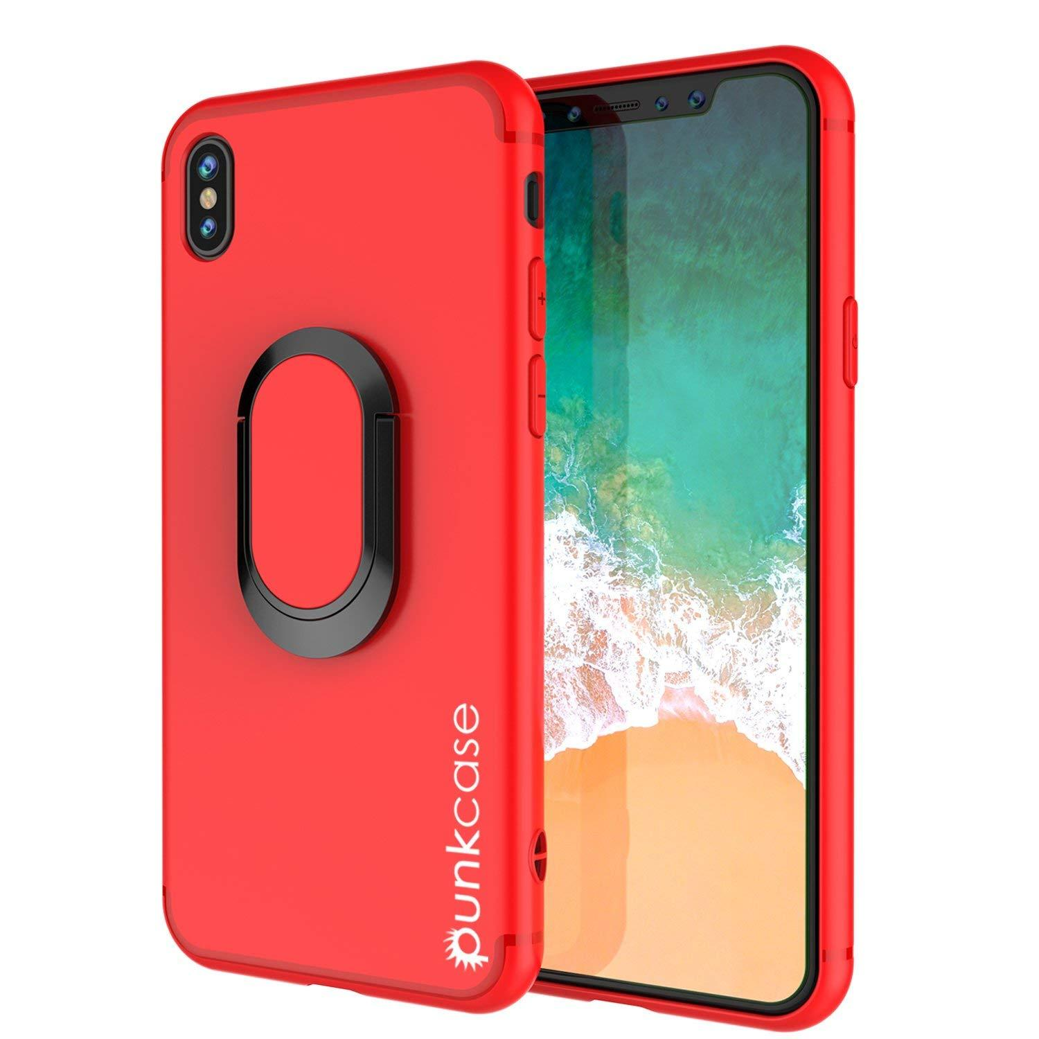 iPhone XR Case, Punkcase Magnetix Protective TPU Cover W/ Kickstand, Tempered Glass Screen Protector [Red]
