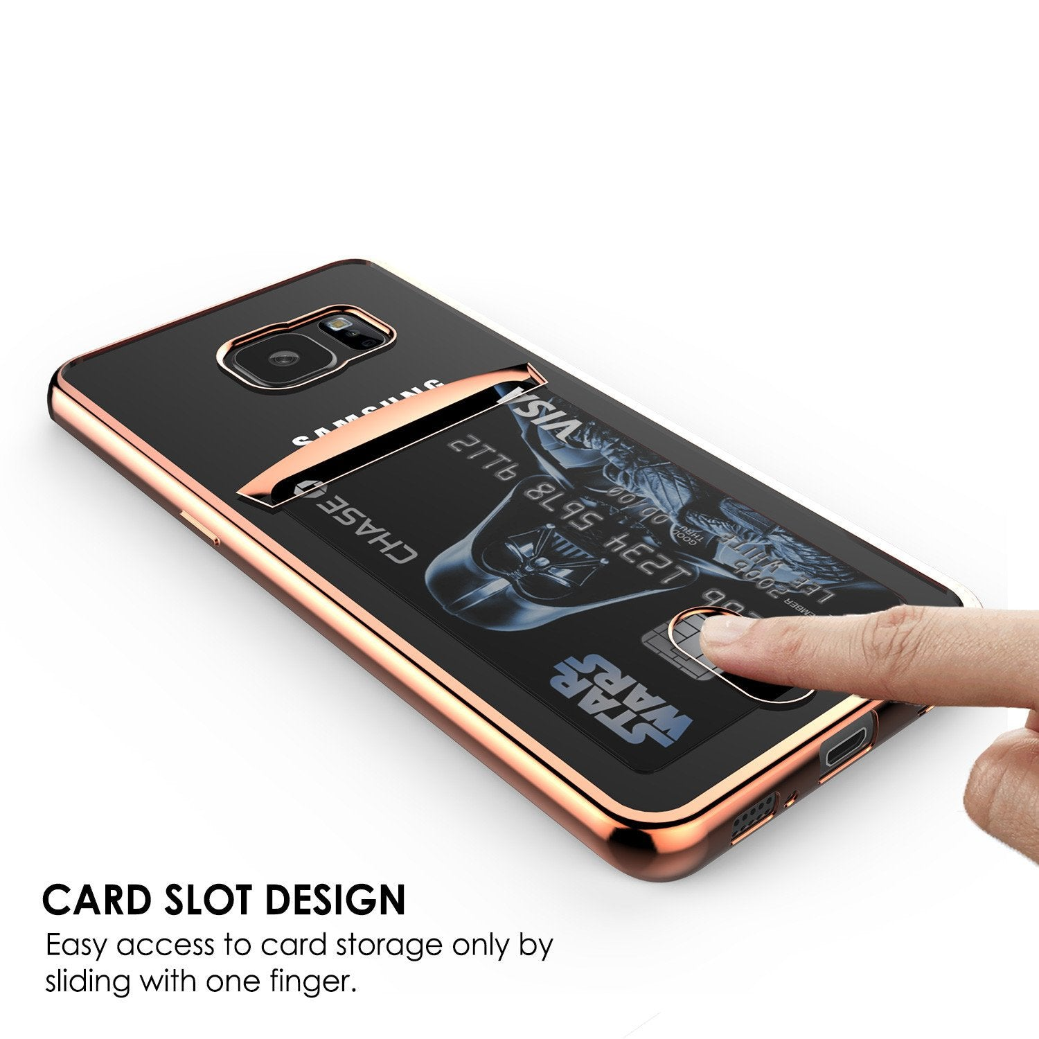 Galaxy S7 Case, PUNKCASE® LUCID Rose Gold Series | Card Slot | SHIELD Screen Protector | Ultra fit