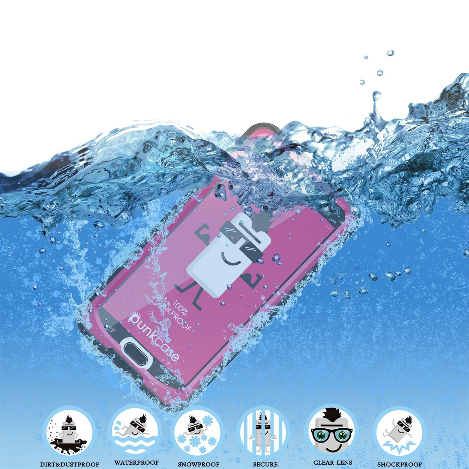 Galaxy Note 5 Waterproof Case, Punkcase StudStar Pink Shock/Dirt/Snow Proof | Lifetime Warranty